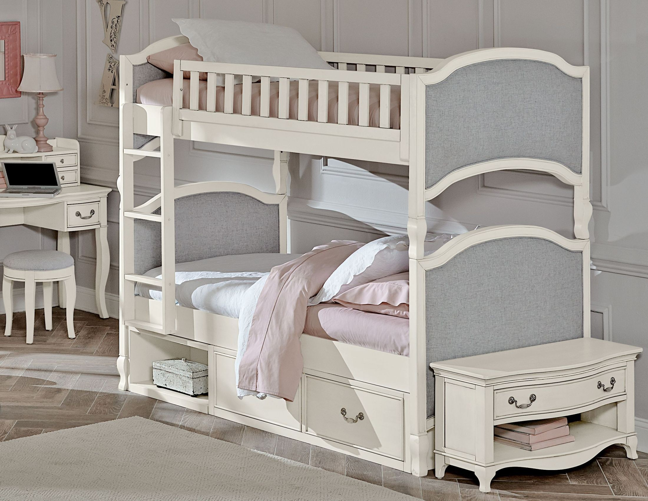 kensington antique white victoria twin over twin bunk bed with storage from ne kids coleman. Black Bedroom Furniture Sets. Home Design Ideas