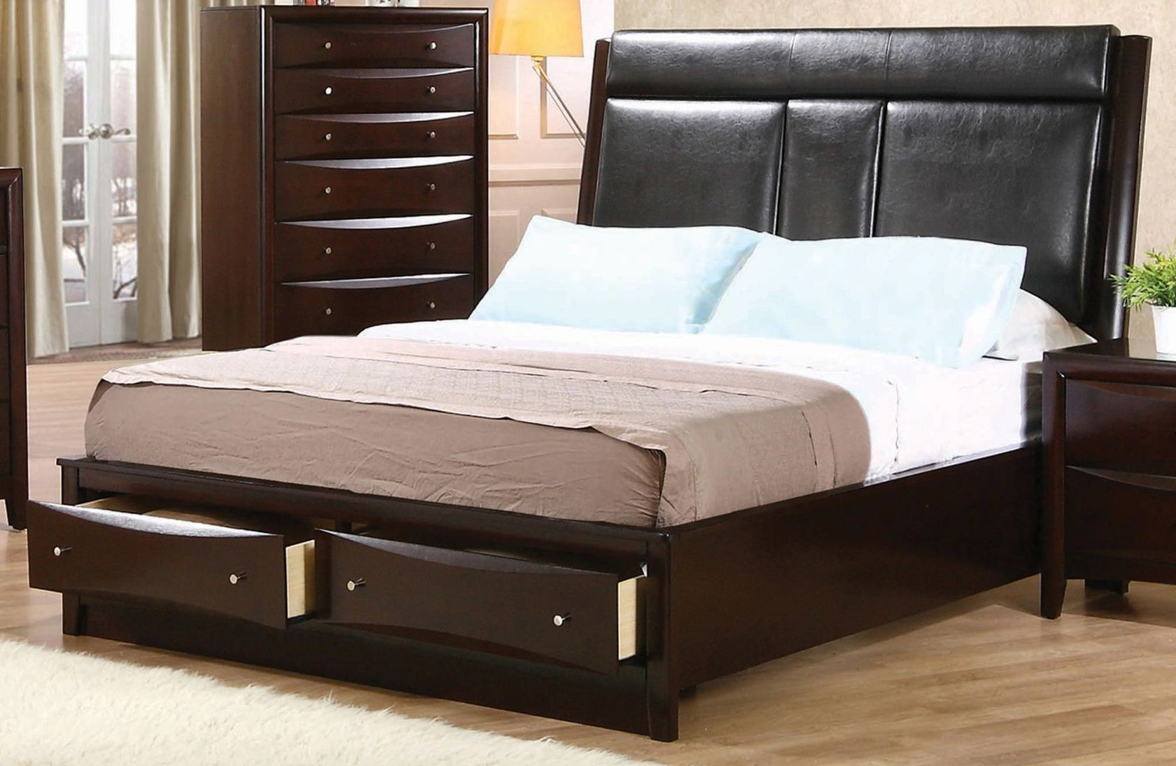 phoenix queen upholstered storage platform bed from coaster 200419q coleman furniture. Black Bedroom Furniture Sets. Home Design Ideas
