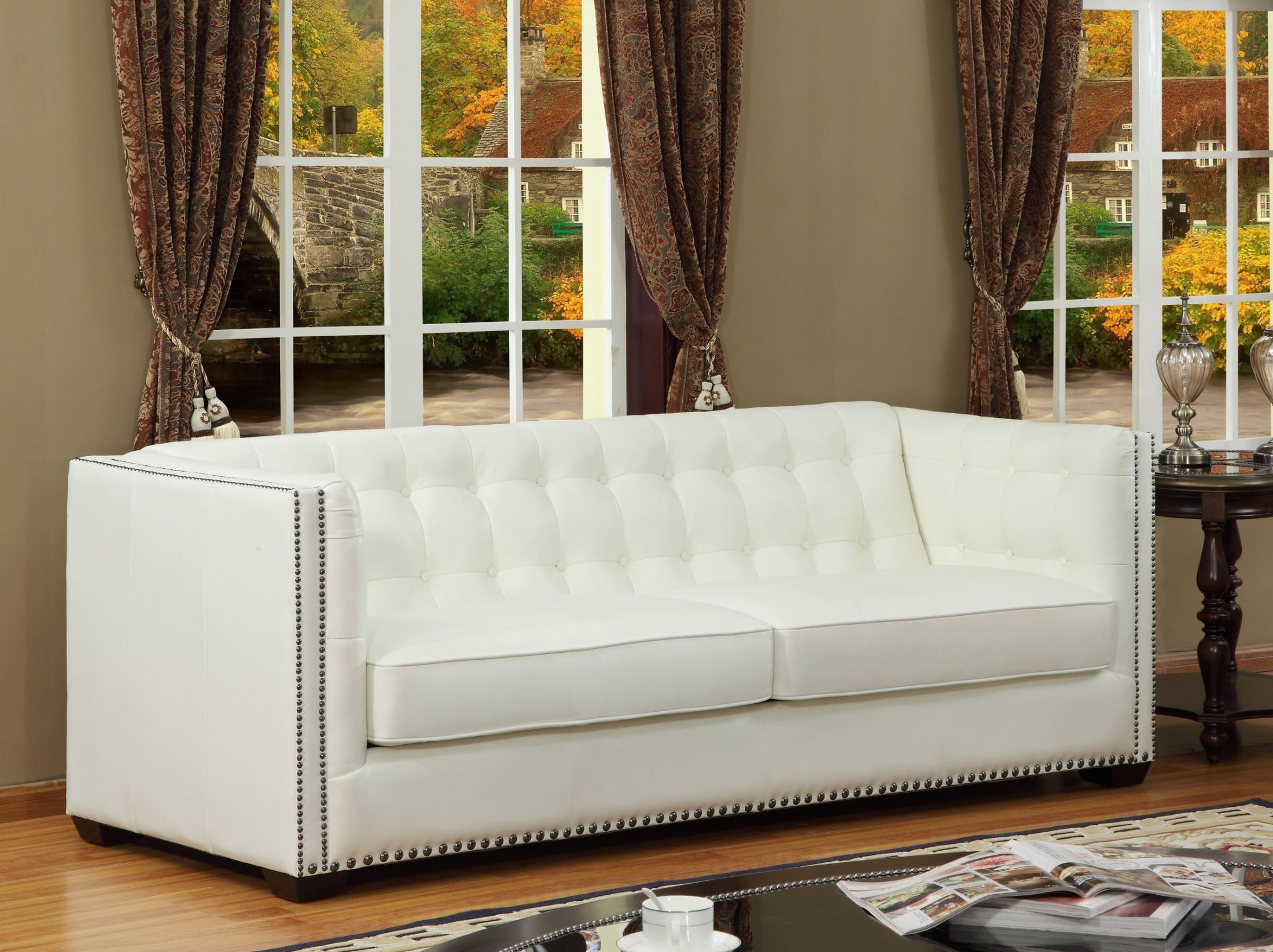 Belarie White Leather Living Room Set From Lazzaro Wh