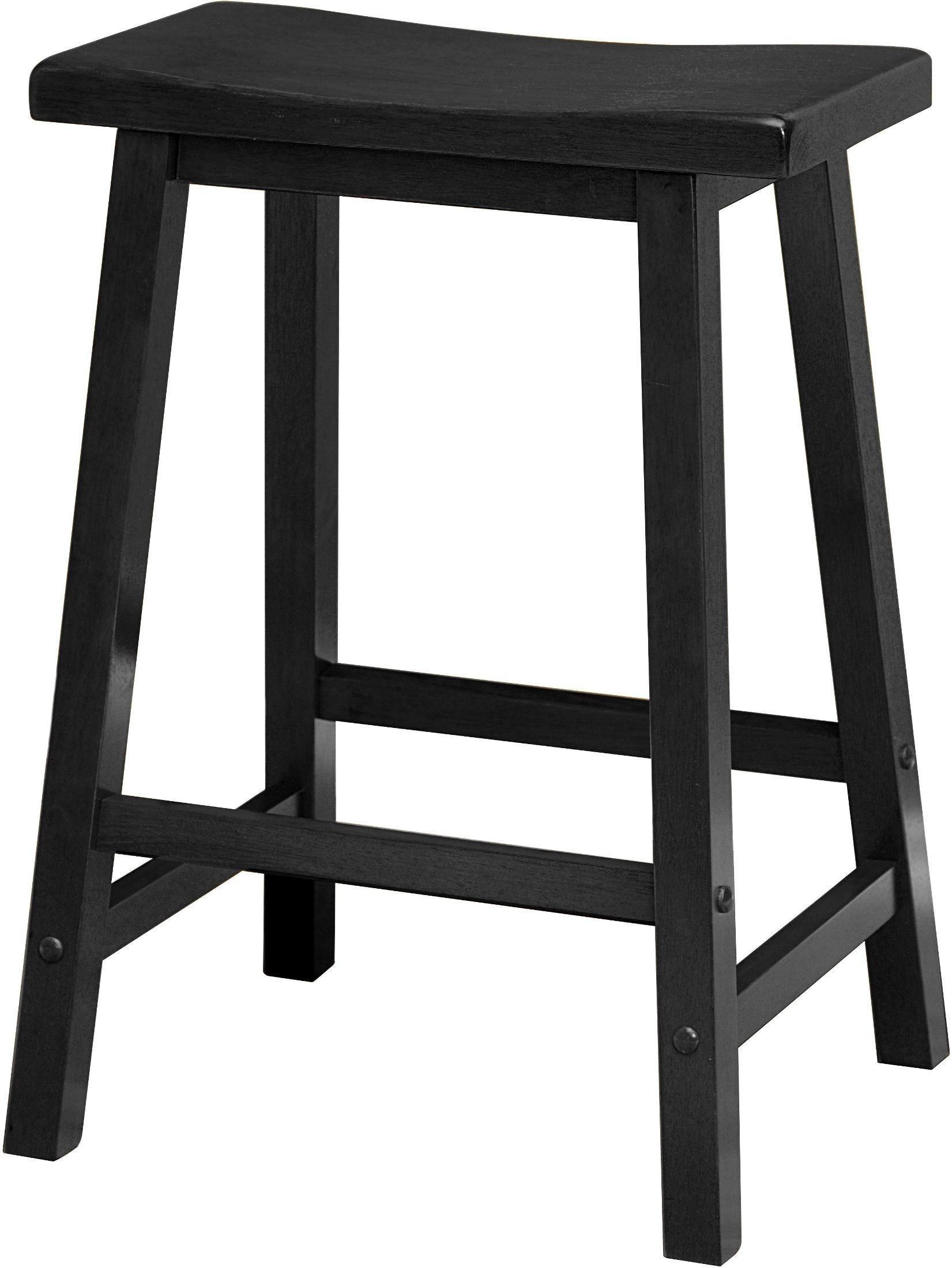 Satori Black 24 Quot Saddle Bar Stool Set Of 2 From