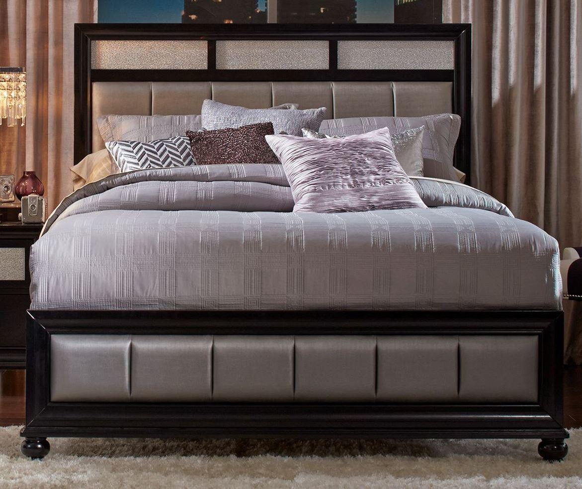 barzini black queen platform bed