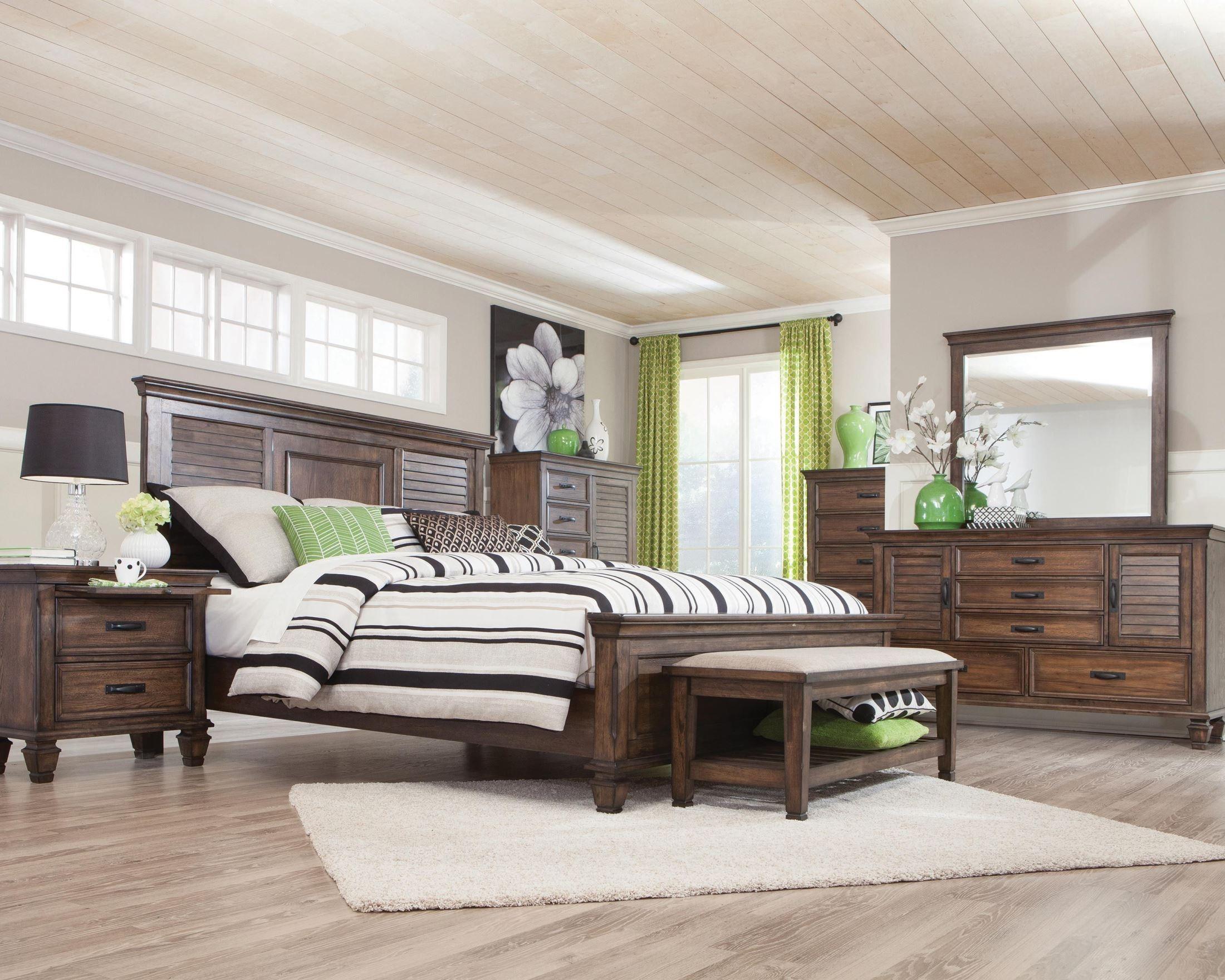 Franco Burnished Oak Panel Bedroom Set From Coaster Coleman Furniture