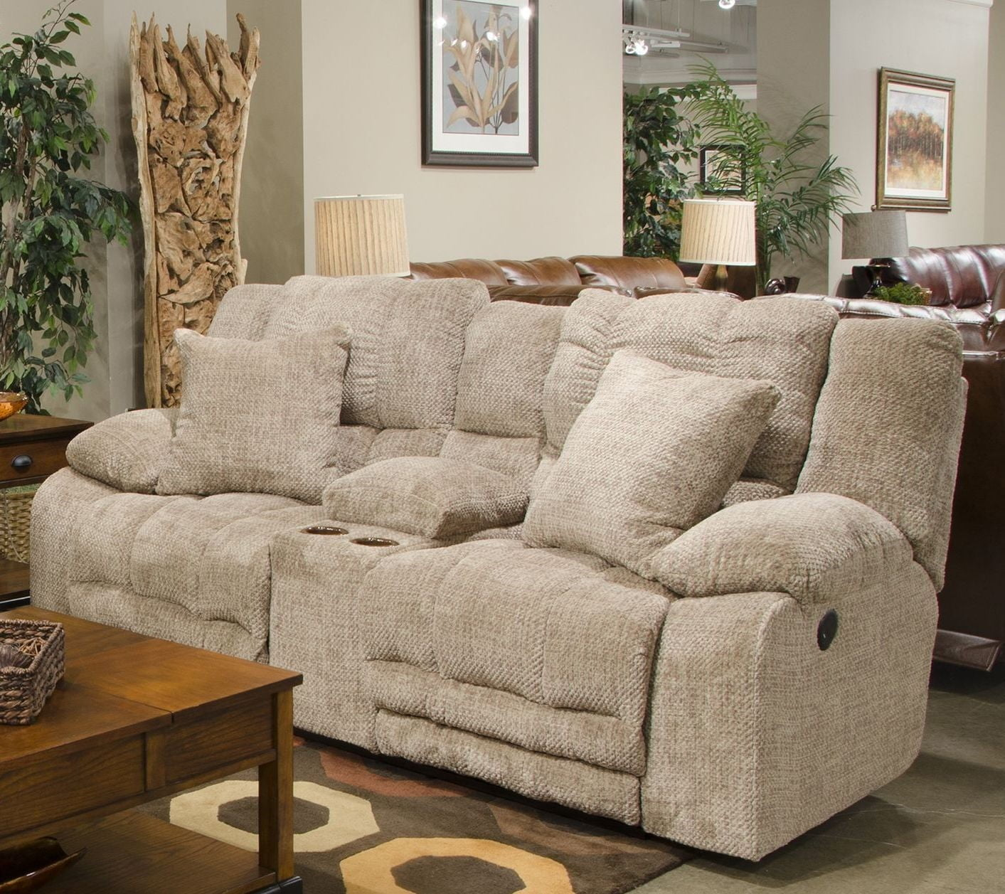Branson Camel Lay Flat Power Reclining Console Loveseat