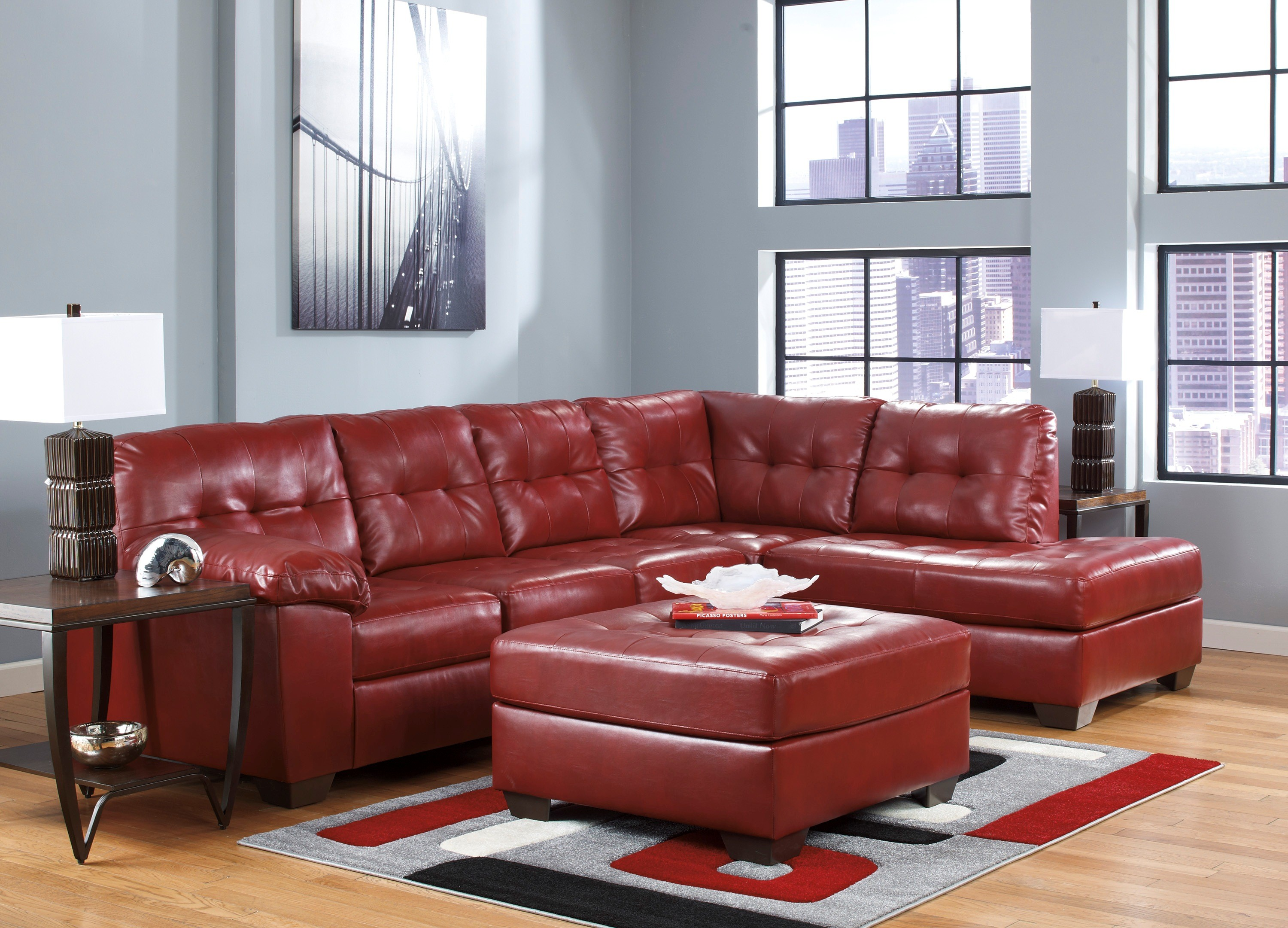Alliston Durablend Salsa Right Arm Facing Sectional From