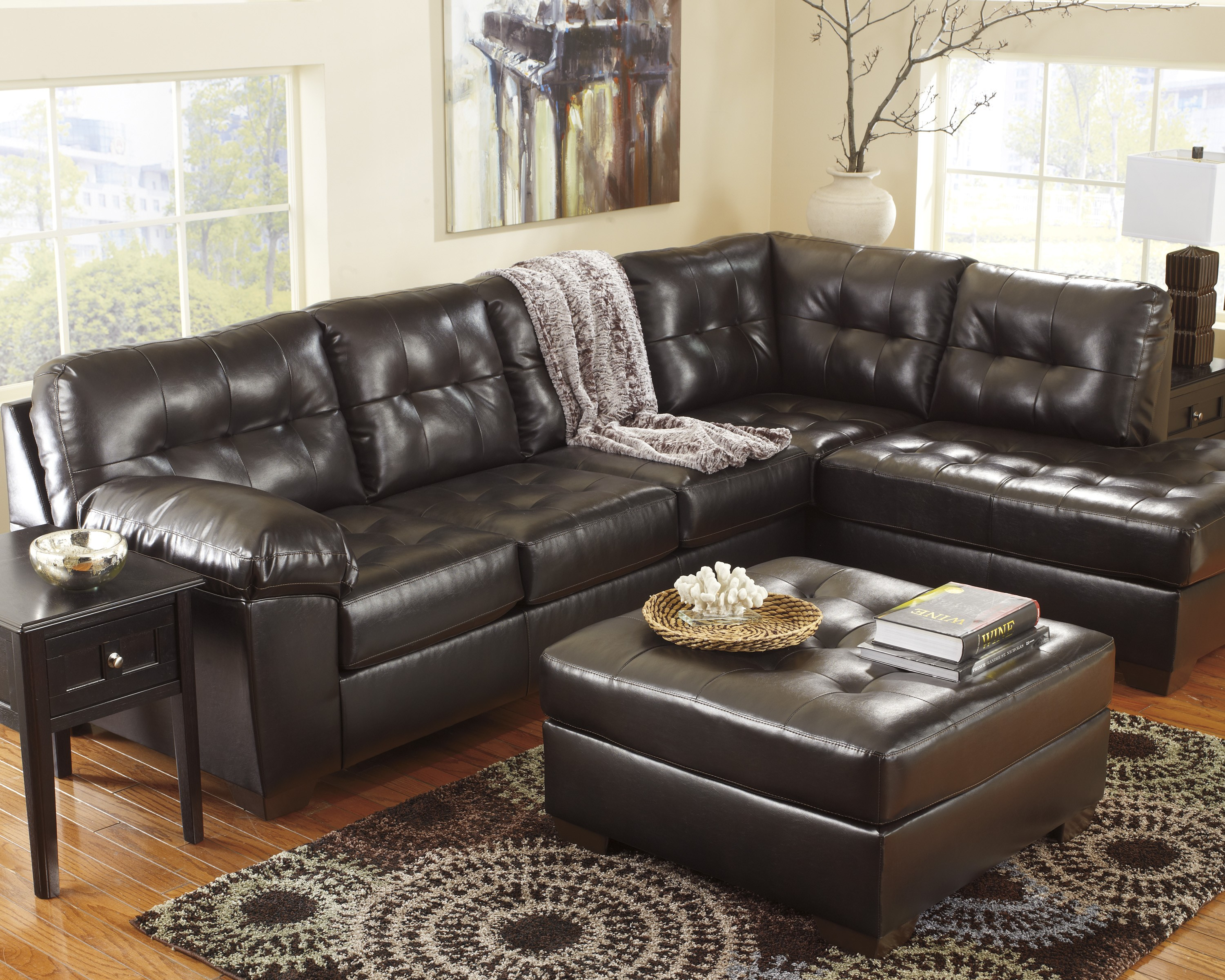 Alliston durablend chocolate right arm facing sectional for Ashley durablend chaise