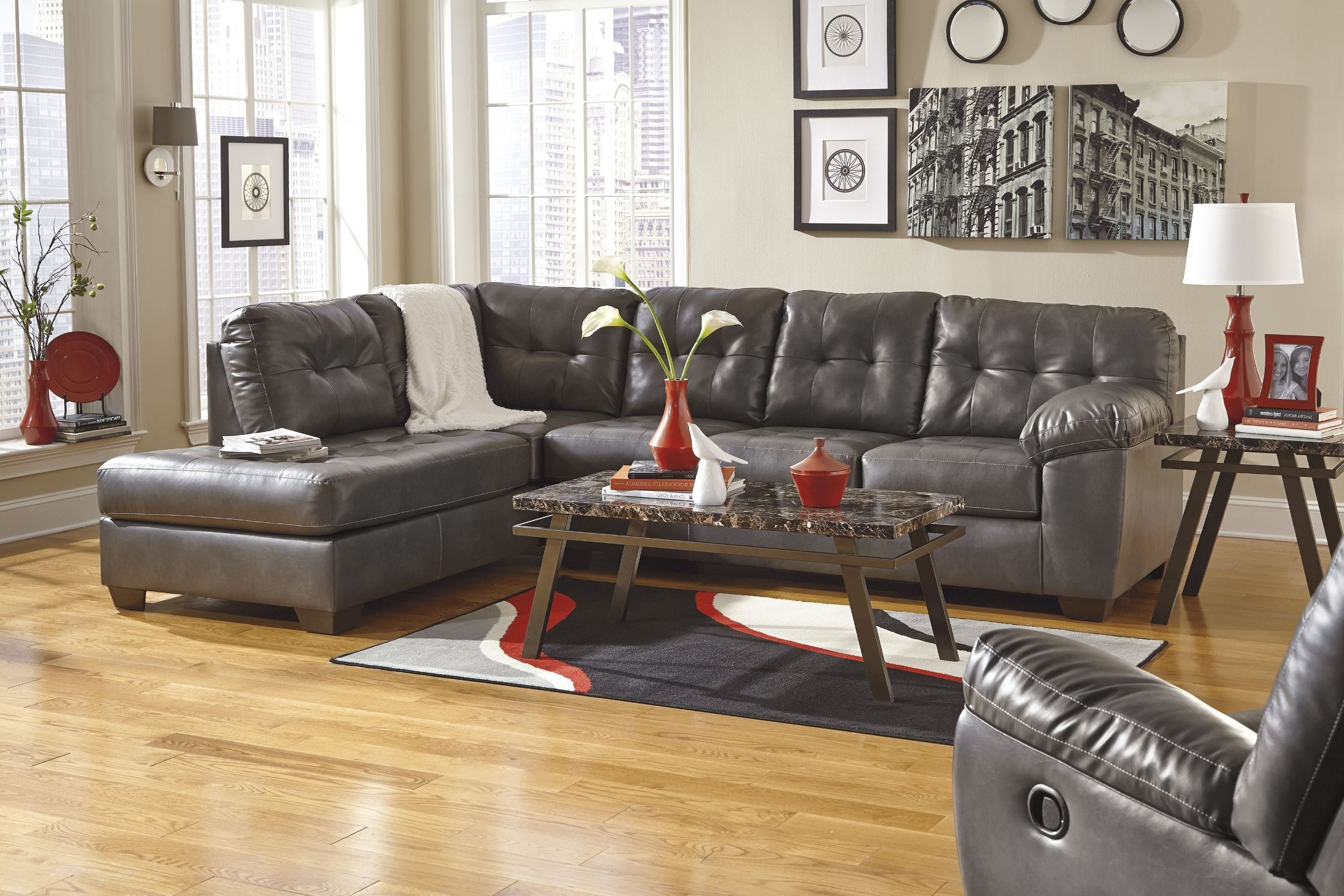 Alliston DuraBlend Gray LAF Sectional from Ashley 16 67