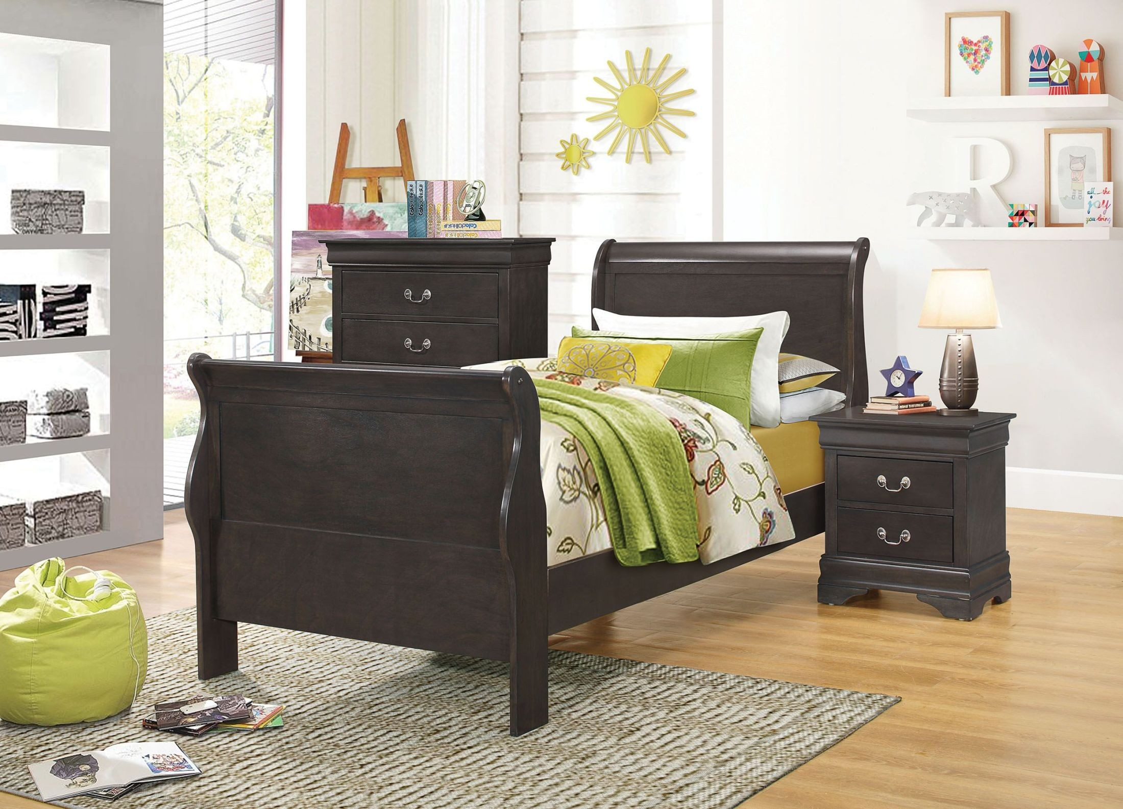 Hershel Louis Philippe Dark Charcoal Grey Youth Panel Bedroom Set From Coaster Coleman Furniture