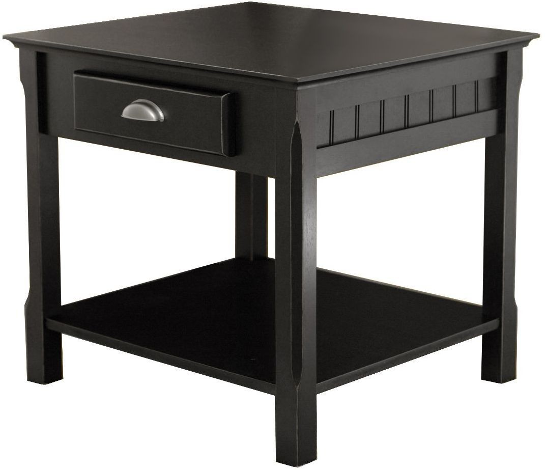 Timber black 1 drawer end table from winsomewood coleman for 1 drawer table