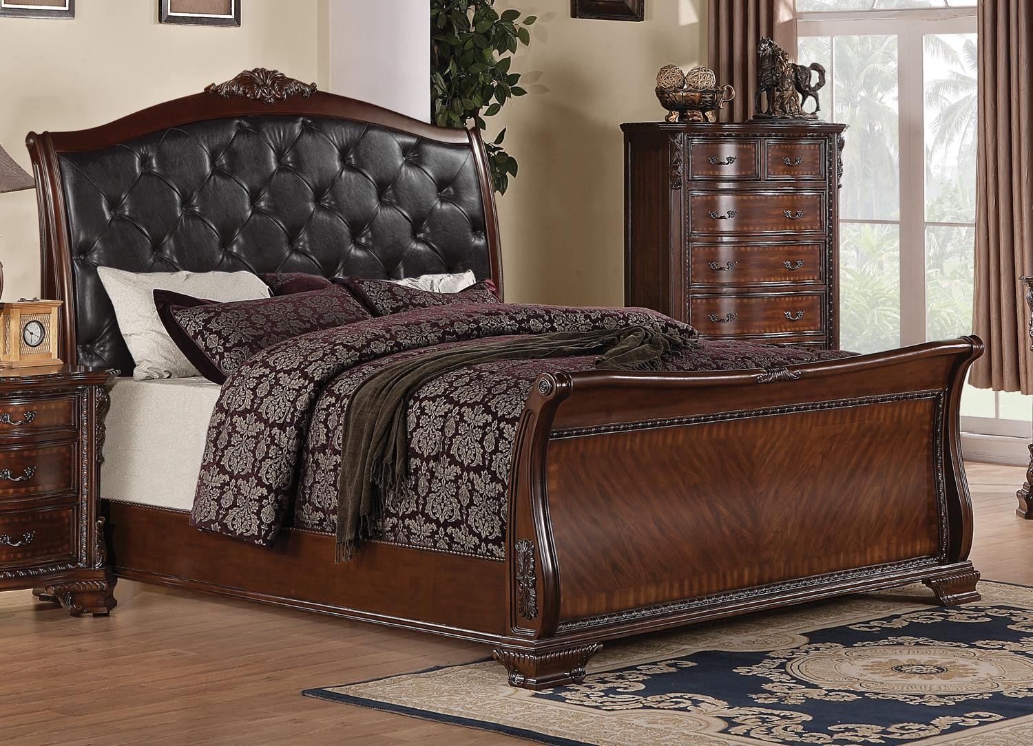 king sleigh bedroom sets maddison king sleigh upholstered bed from coaster 15763
