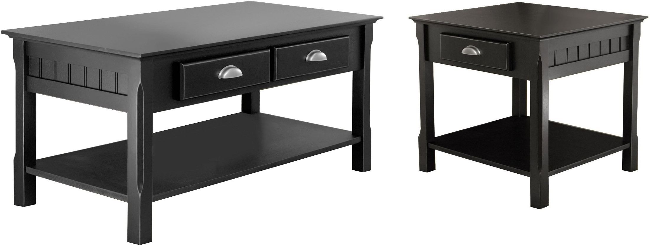 Timber black 2 drawer occasional table set from for Occasional table with drawers