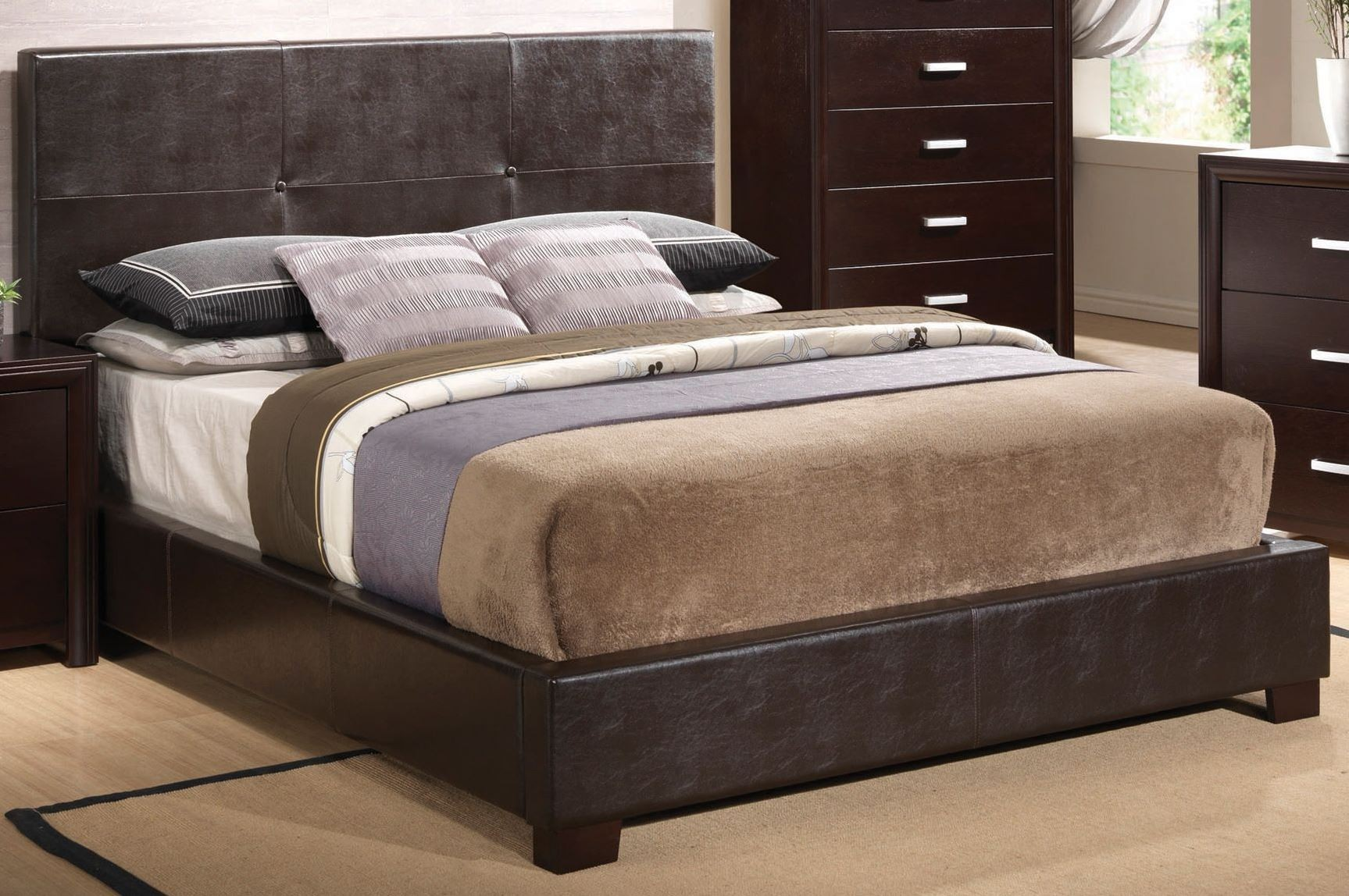 Andreas cappuccino queen platform bed from coaster Andreas furniture