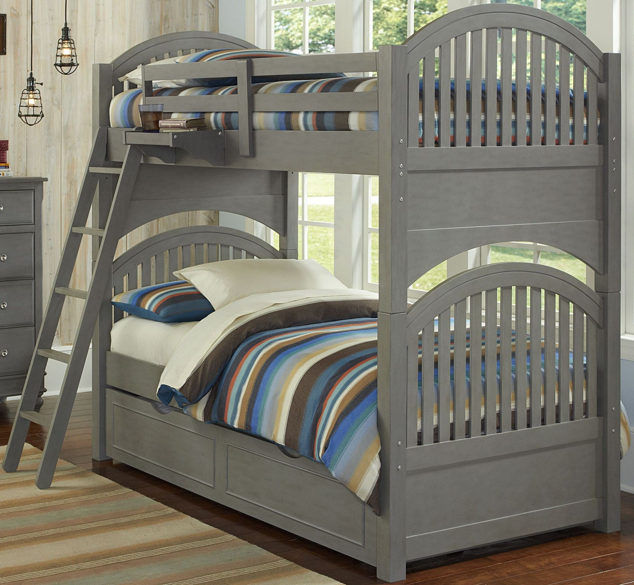 Lake House Stone Adrain Twin Over Twin Bunk Bed With