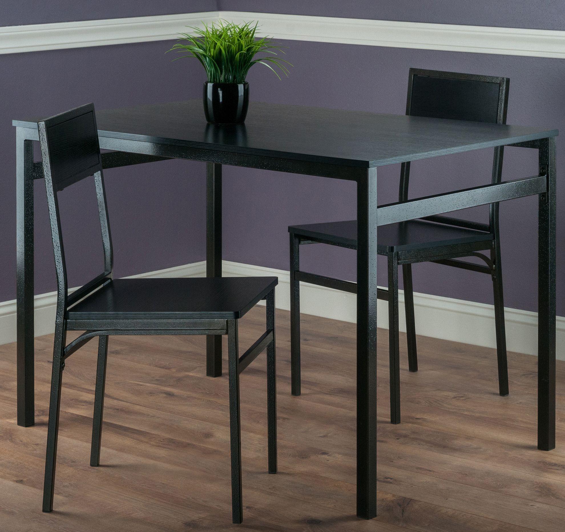 3 Piece Dining Room Set: Milton Black 3 Piece Dining Room Set From WinsomeWood
