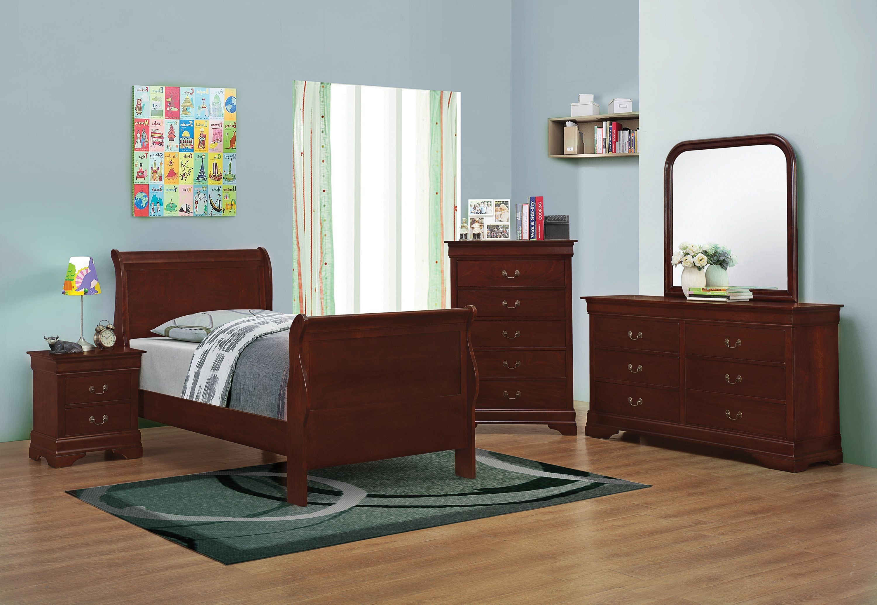 Louis philippe reddish brown youth sleigh bedroom set from coaster coleman furniture for Louis philippe bedroom collection