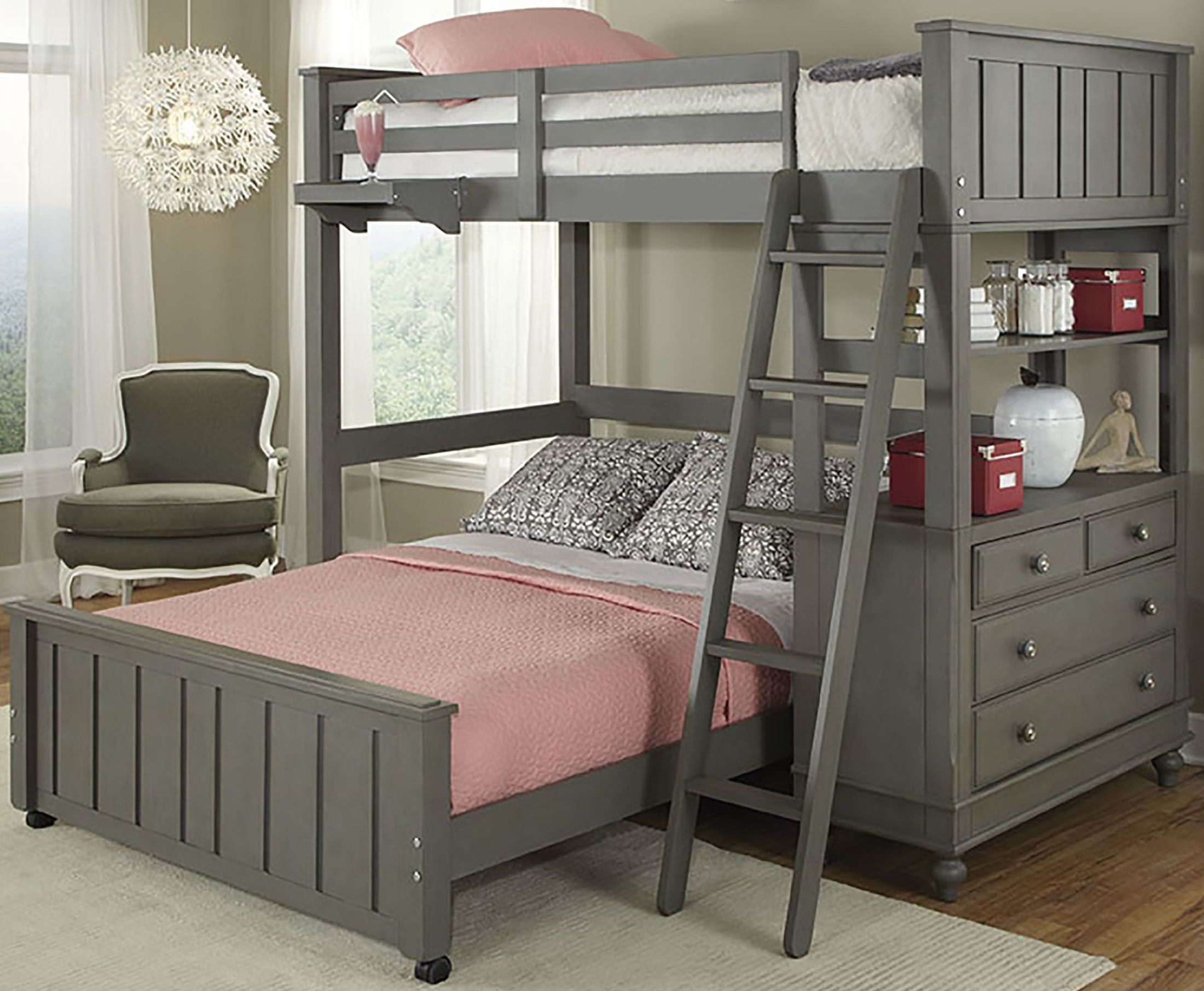 Lake House Stone Twin Loft Bed with Full Lower Bed from NE Kids ...