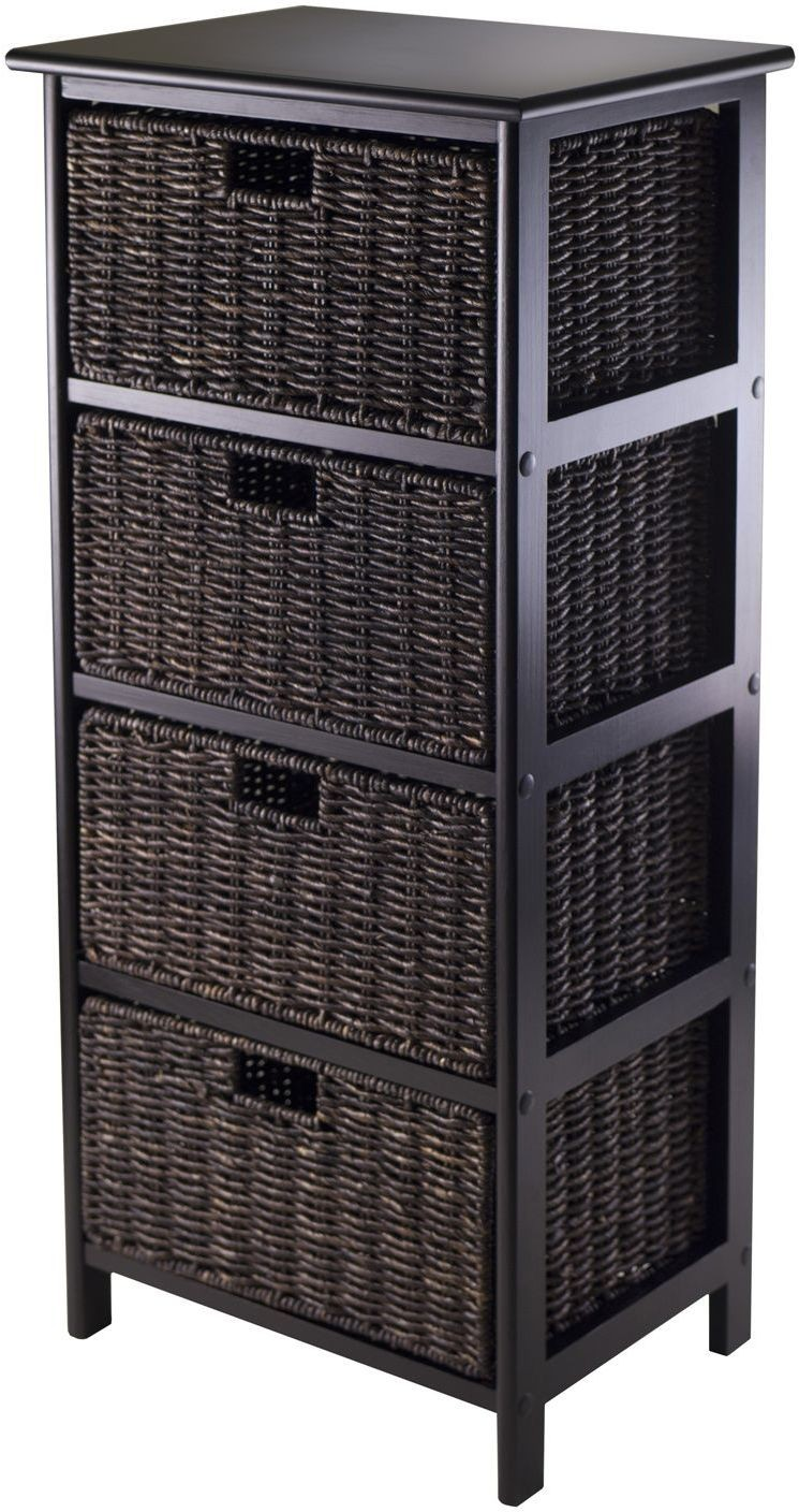 omaha black large storage rack from winsomewood coleman. Black Bedroom Furniture Sets. Home Design Ideas