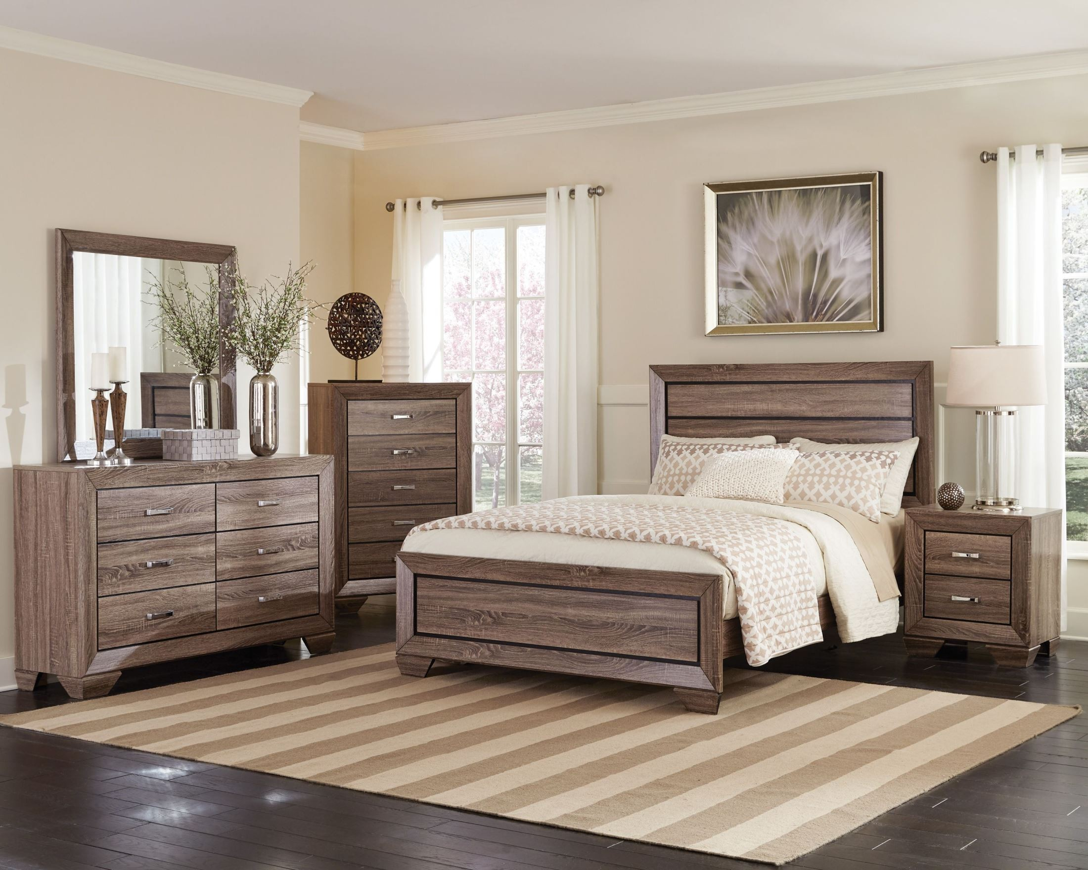 Kauffman Washed Taupe Panel Bedroom Set From Coaster (204191Q)