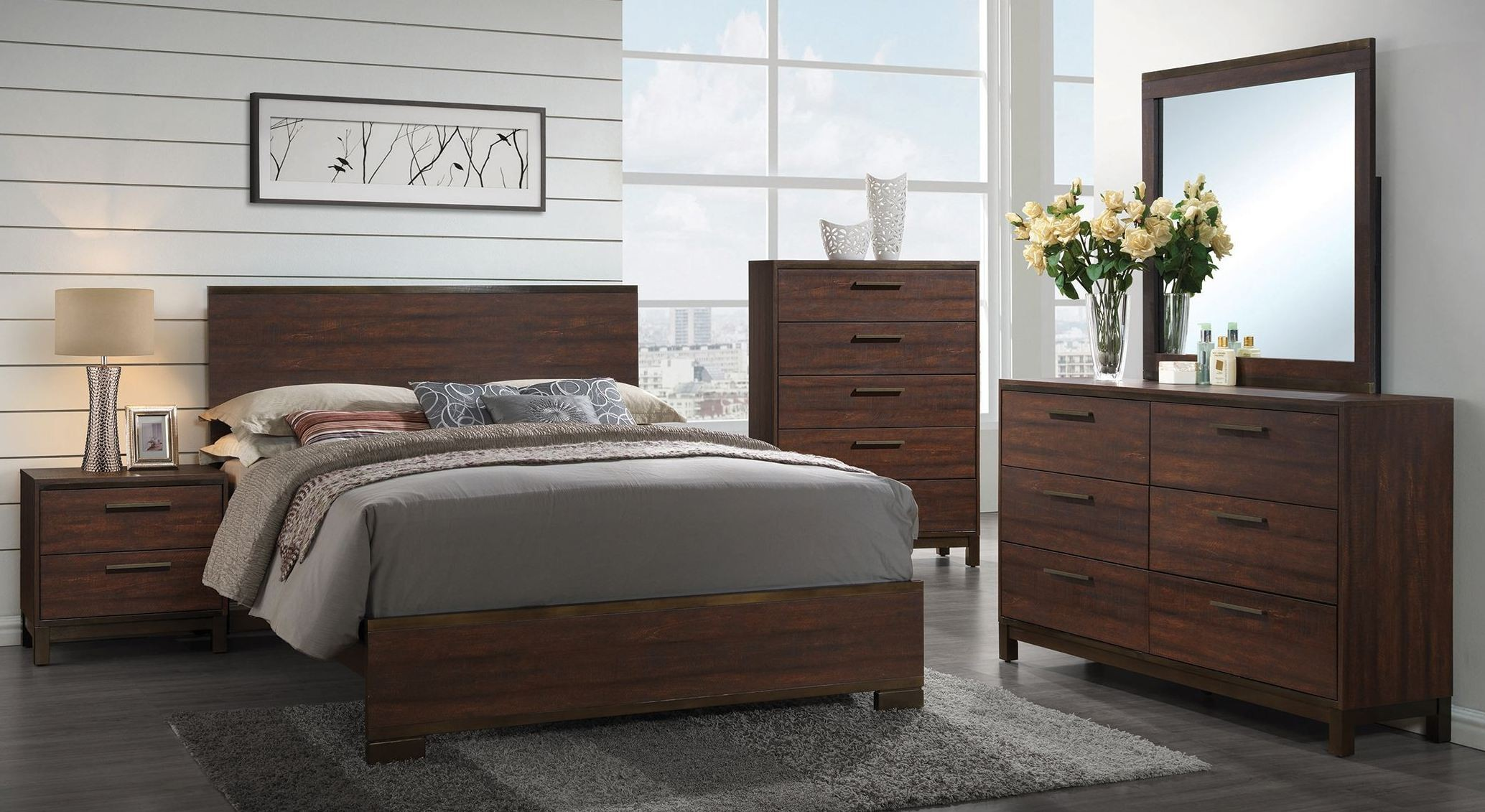 Edmonton Rustic Tobacco Platform Bedroom Set from Coaster ...