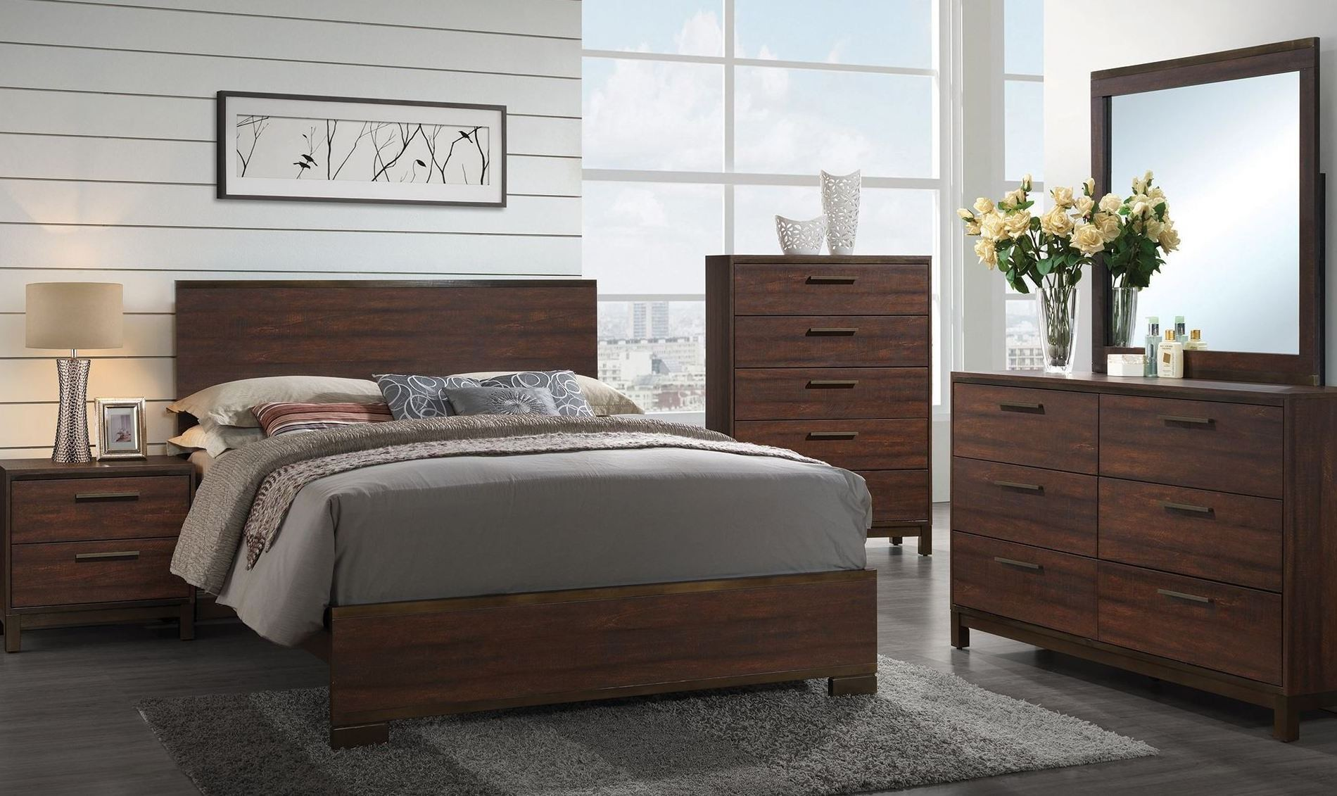 edmonton rustic tobacco platform bedroom set from coaster coleman furniture. Black Bedroom Furniture Sets. Home Design Ideas