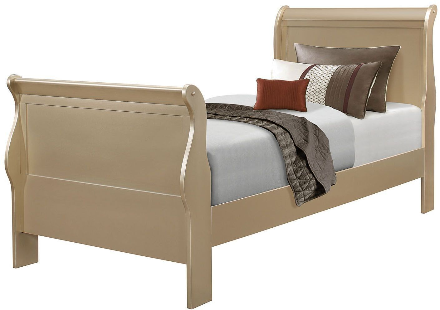 Hershel Louis Philippe Metallic Champagne Youth Panel Bedroom Set From Coaster Coleman Furniture