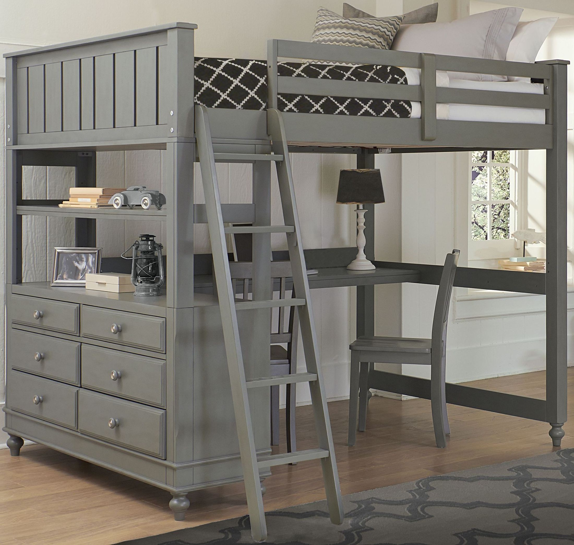 lake house stone full loft bed with desk from ne kids. Black Bedroom Furniture Sets. Home Design Ideas