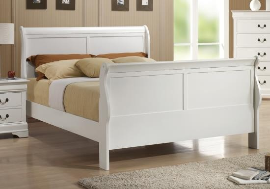 louis philippe white sleigh bedroom set from coaster 15928 | 204691q