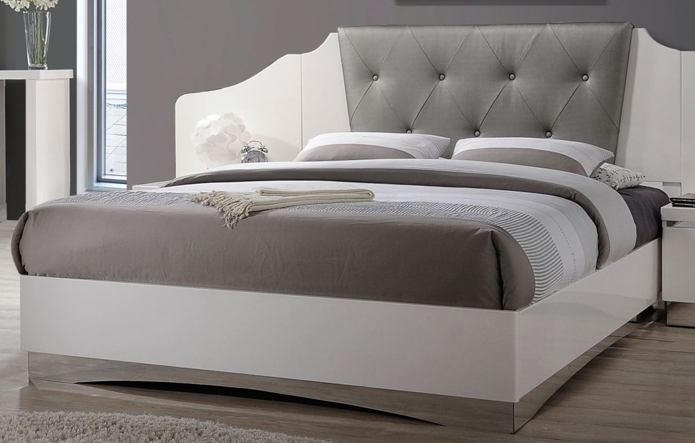 Alessandro glossy white queen platform bed from coaster - White queen platform bedroom set ...