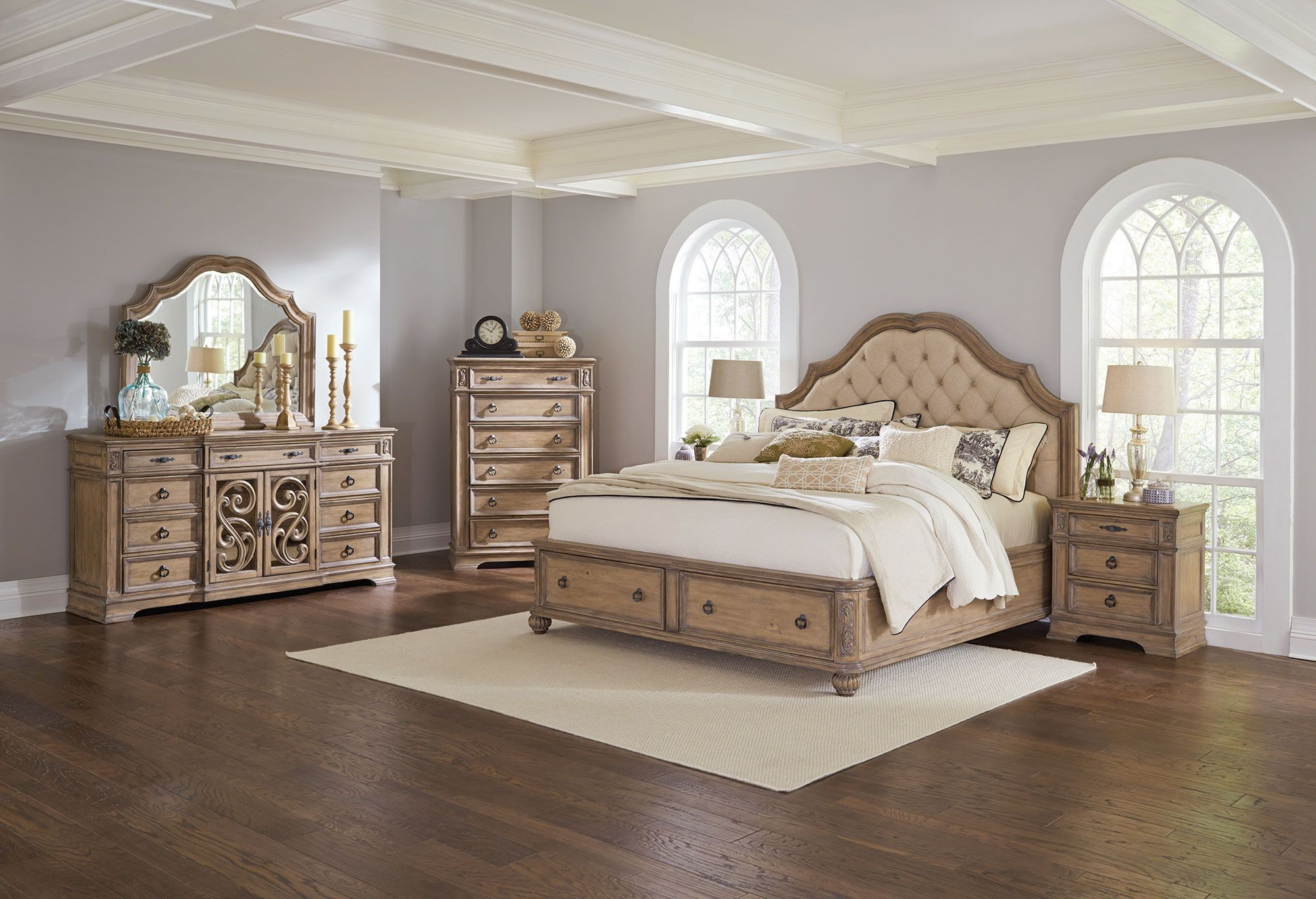 Ilana Antique Linen King Panel Storage Bed from Coaster | Coleman ...
