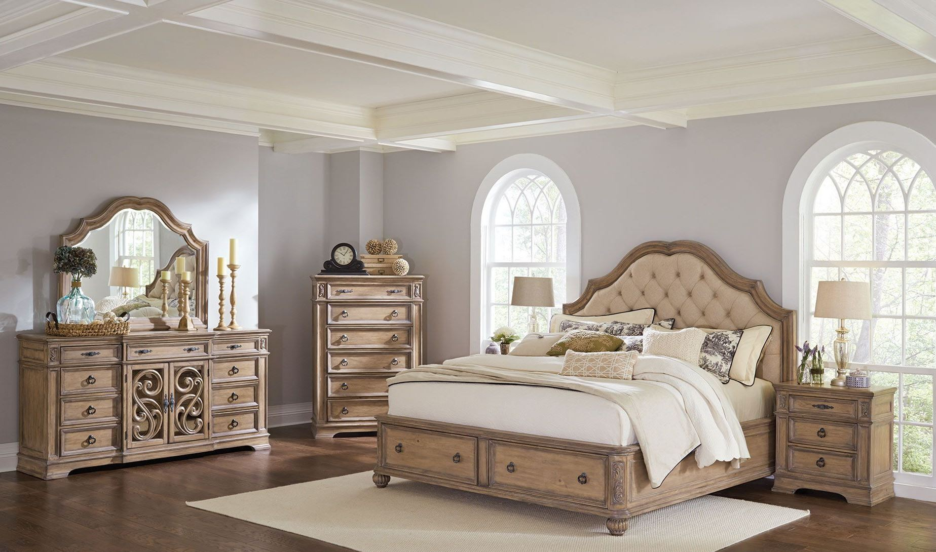 Elegant Ilana Antique Linen Panel Storage Bedroom Set