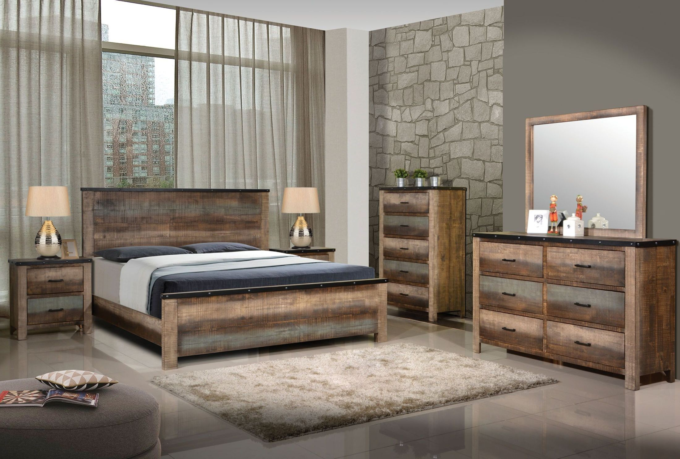 sembene antique multicolor panel bedroom set from coaster 12789 | 205091q 205095