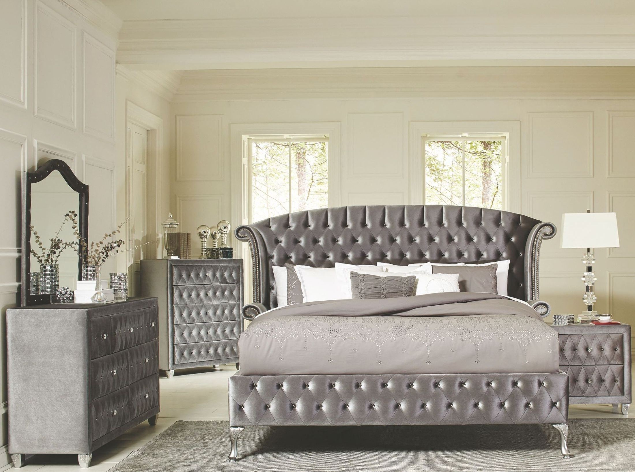 Deanna grey king upholstered platform bed from coaster for Gray bedroom furniture sets