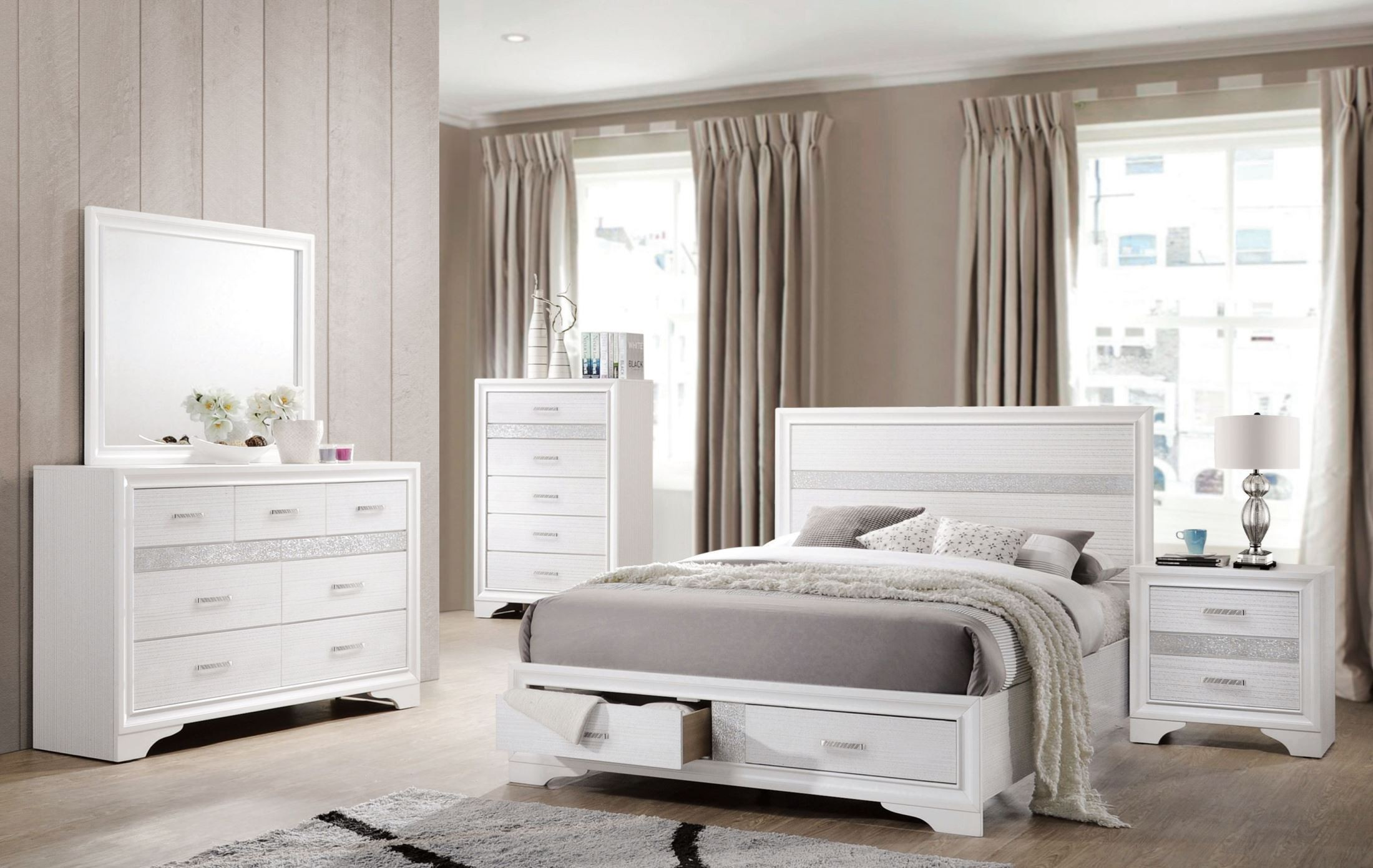 miranda white storage platform bedroom set from coaster 13826 | 205111q 205115 2