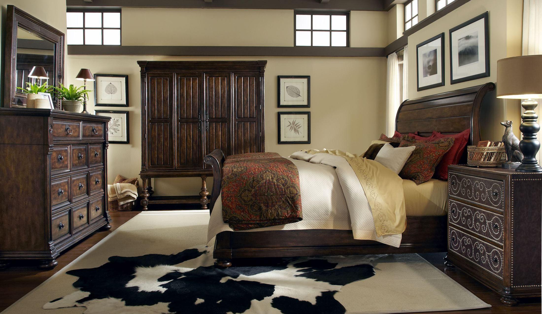 Whiskey Barrel Oak Sleigh Bedroom Set From Art 205155 2304 Coleman Furniture