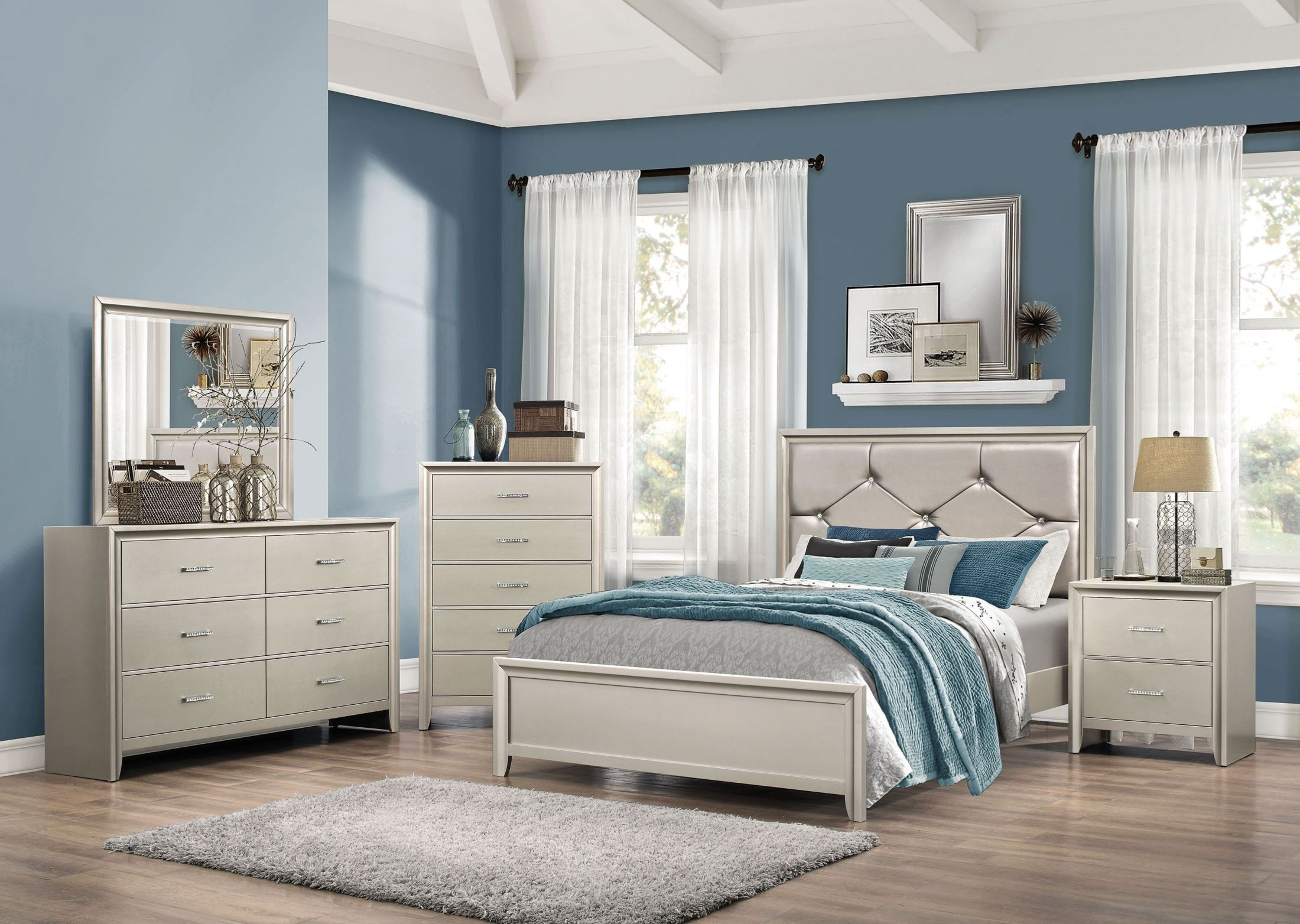 Lana Silver Panel Bedroom Set. Coaster Furniture
