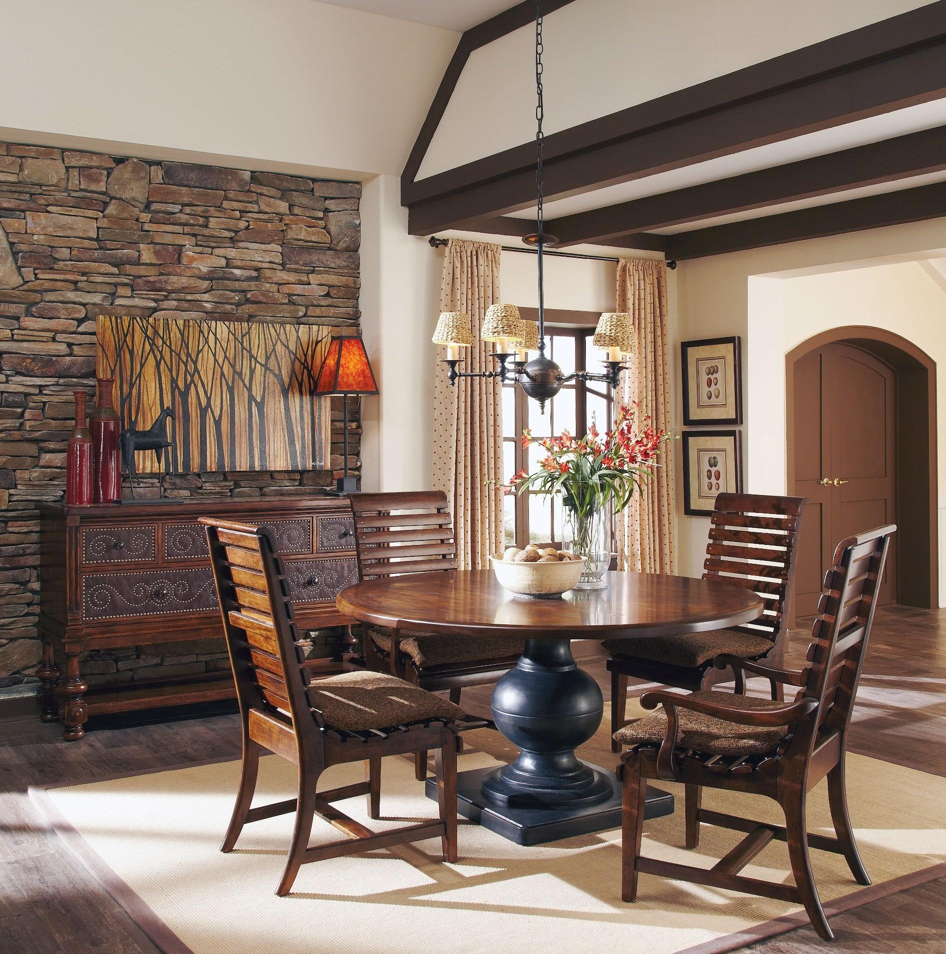 whiskey oak weathered black round dining room set from art coleman furniture. Black Bedroom Furniture Sets. Home Design Ideas