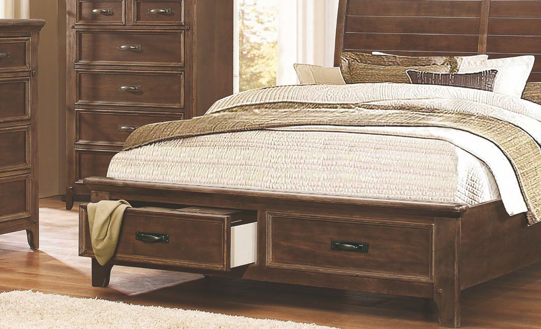 Ives rustic sleigh storage platform bedroom set from - Platform bedroom sets with storage ...