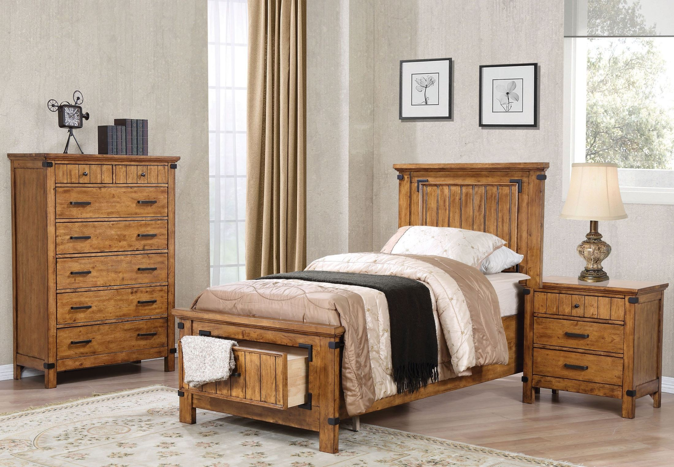 Brenner rustic honey youth panel storage bedroom set from coaster coleman furniture for Youth storage bedroom furniture