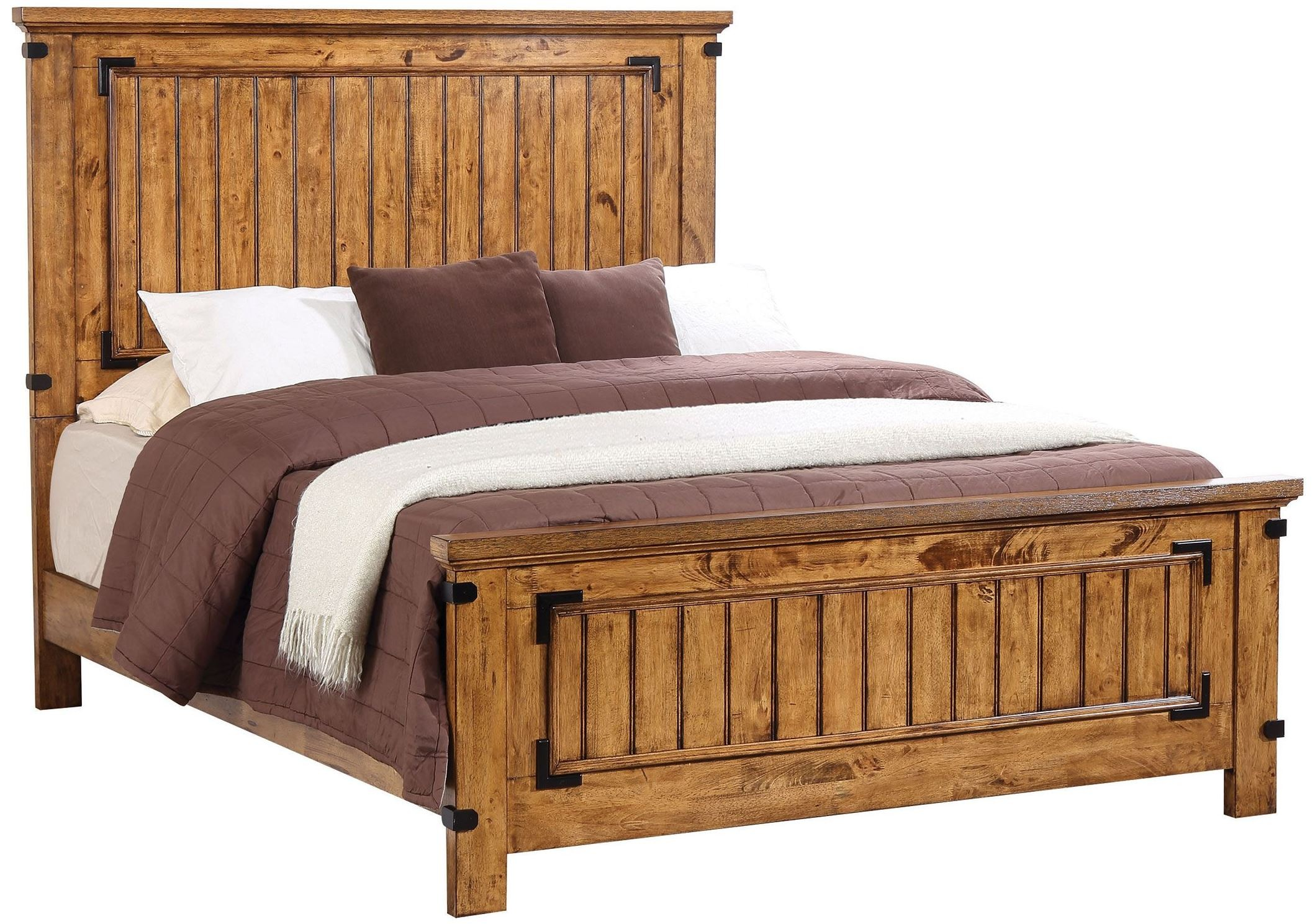 Brenner rustic honey king panel bed from coaster coleman for Panel beds for sale