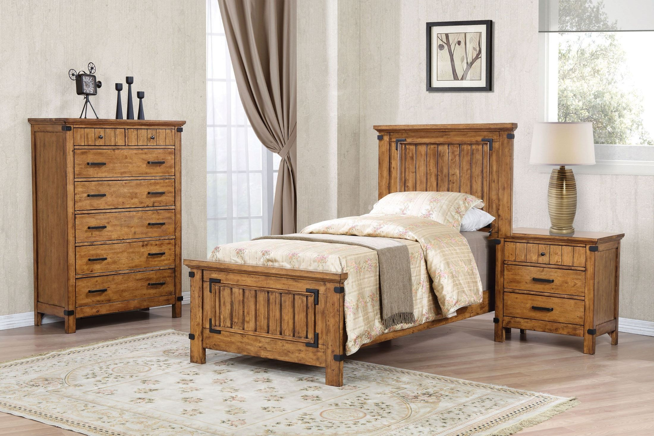 brenner rustic honey youth panel bedroom set from coaster