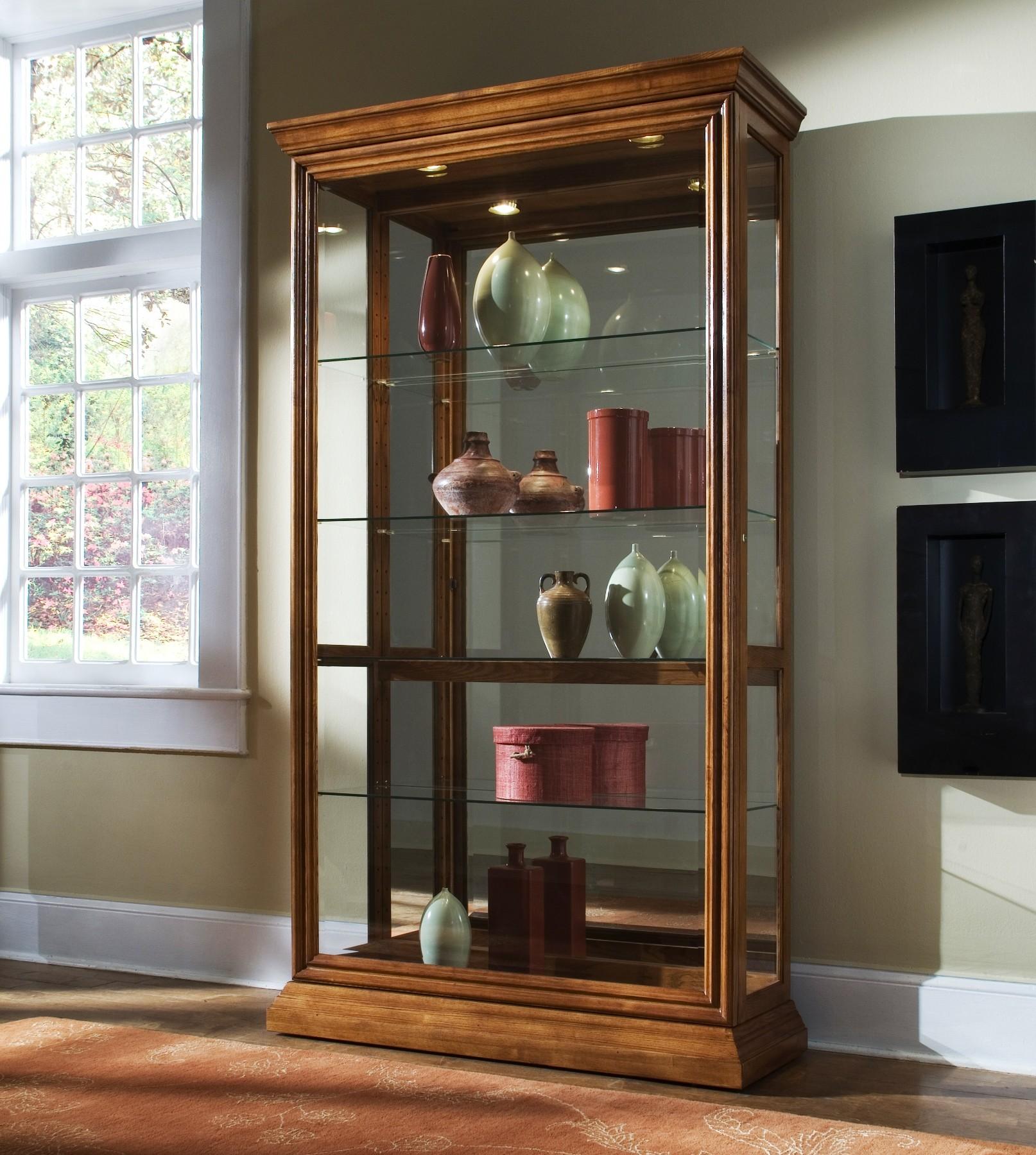 Golden Oak Two Way Sliding Door Curio From Pulaski 20544