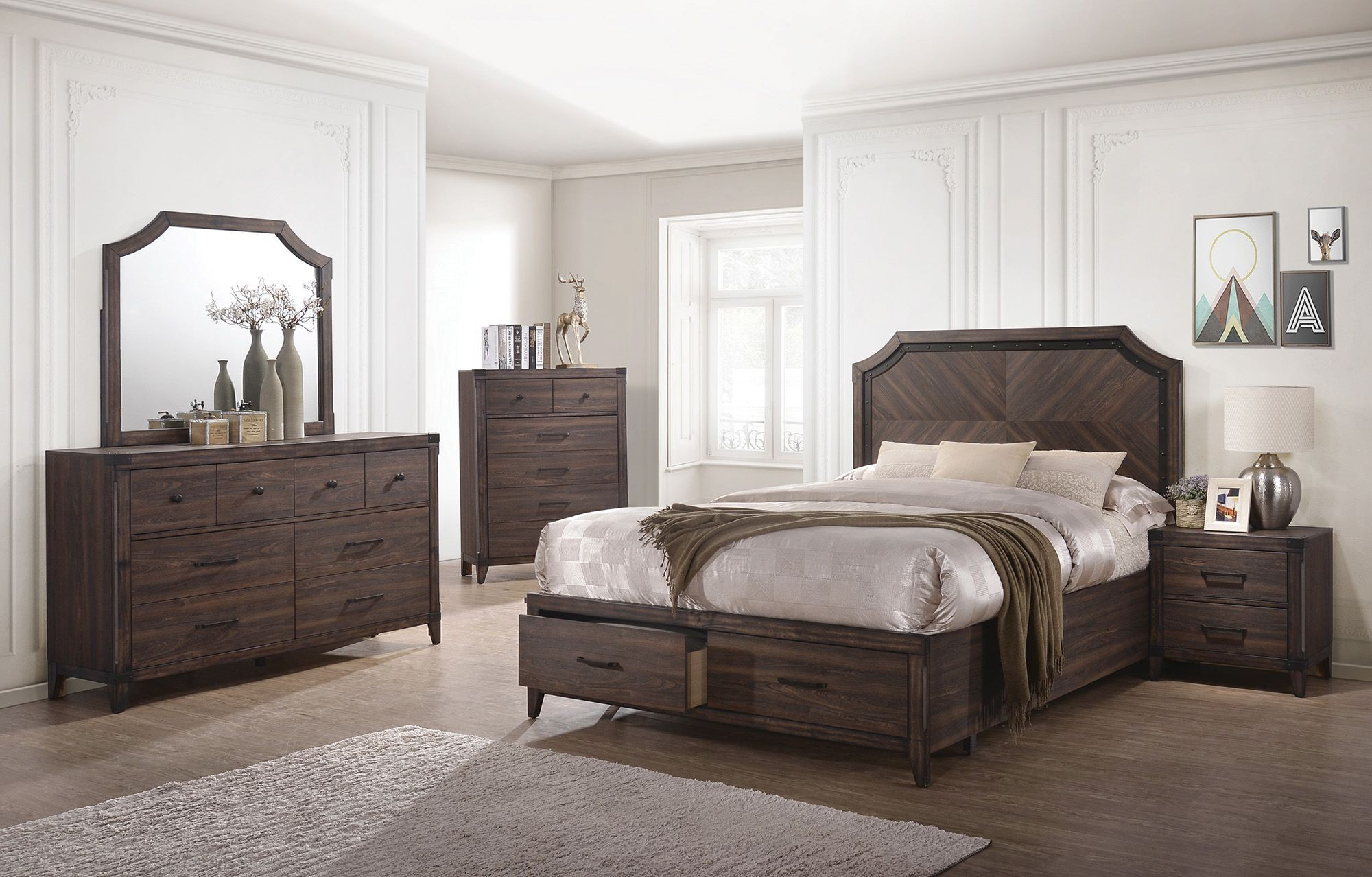 Richmond Dark Gray Oak Storage Panel Bedroom Set From
