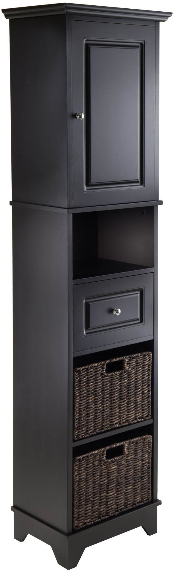Basket Storage With Drawers Cabinets ~ Wyatt black drawer tall cabinet with baskets from