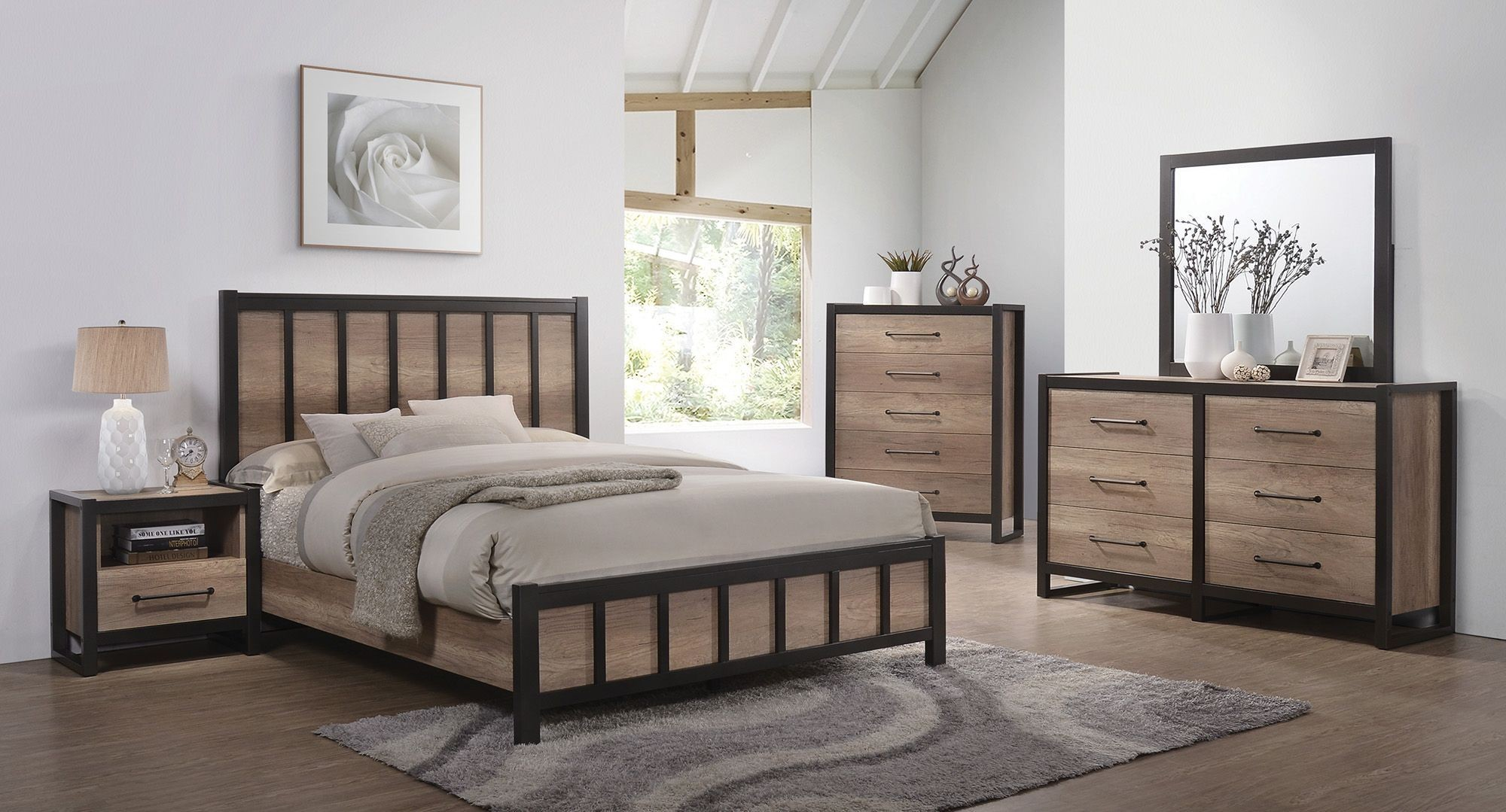 Edgewater Weathered Oak Panel Bedroom Set From Coaster