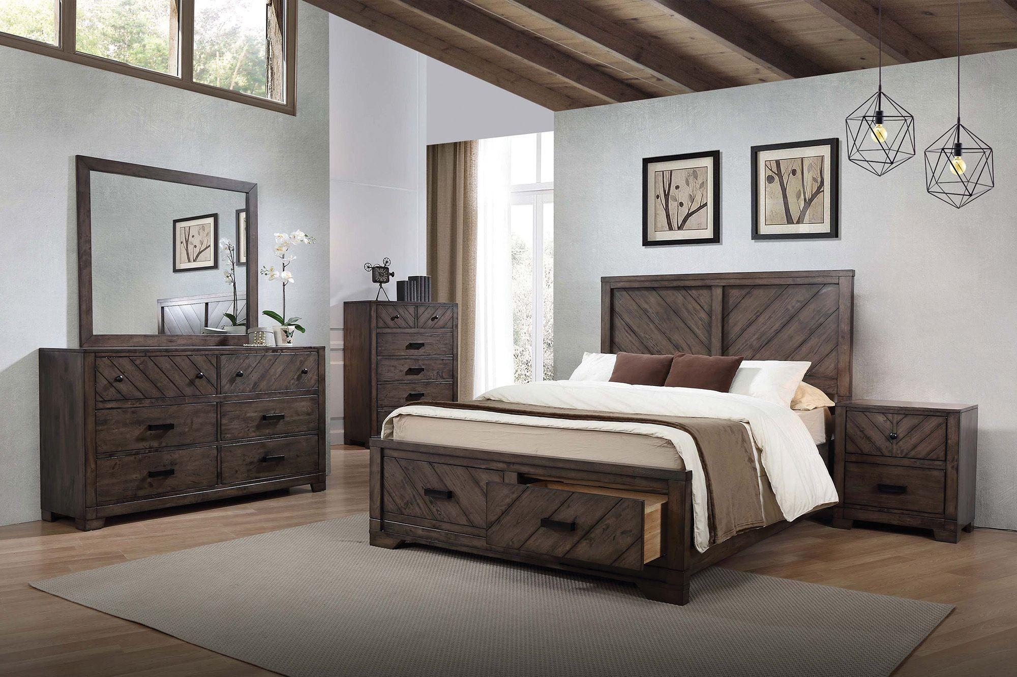 Lawndale Dark Brown Storage Panel Bedroom Set From Coaster