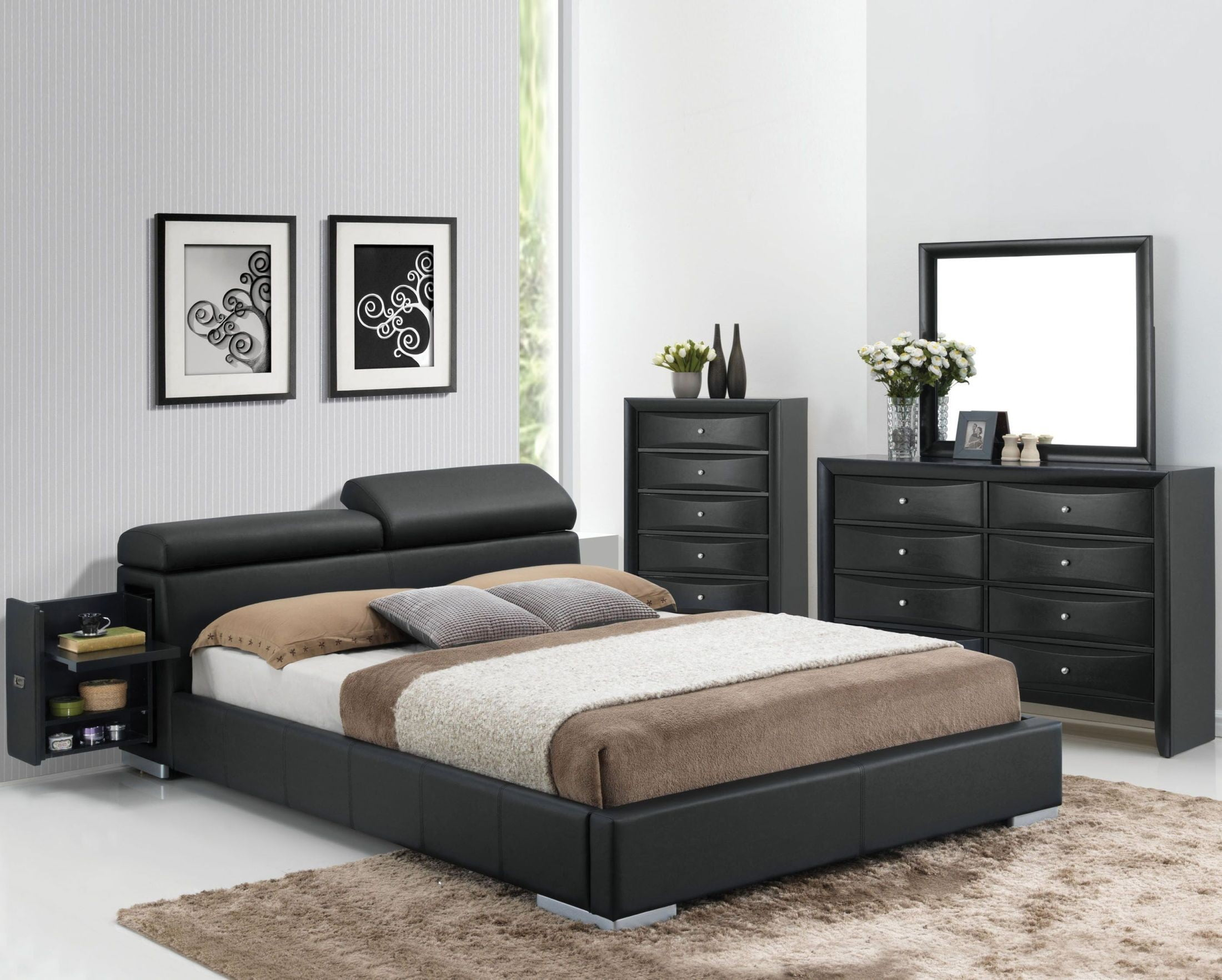 Contemporary Bedroom Set London Black By Acme Furniture: Manjot Black Bedroom Set Hidden Storage Platform Bedroom