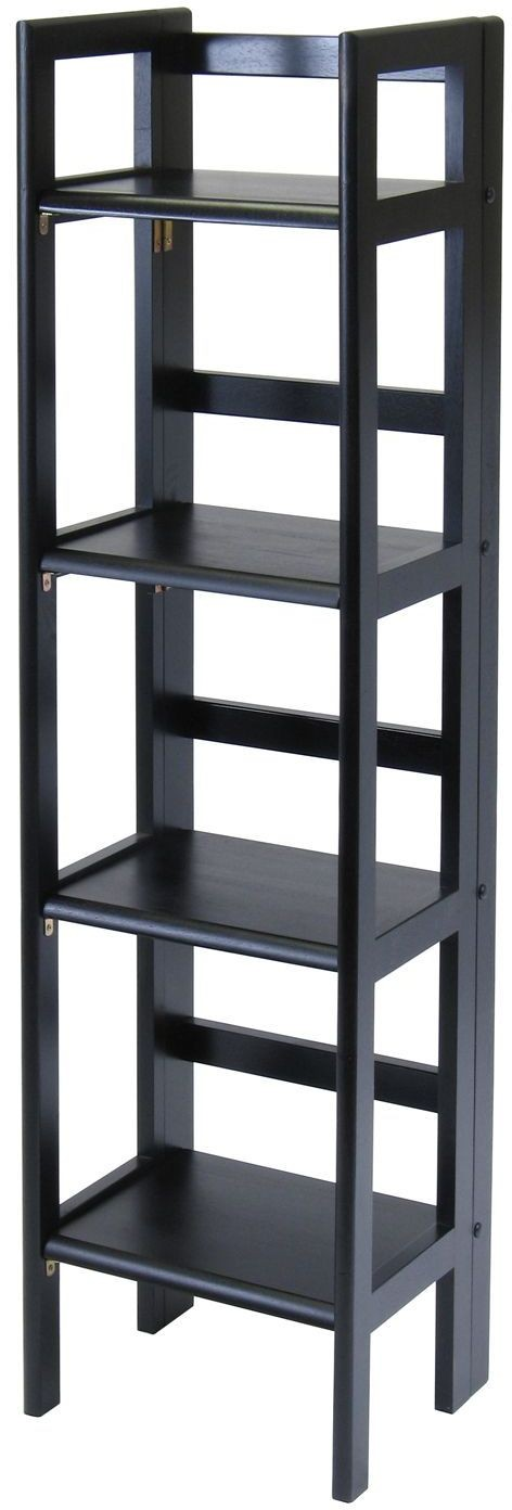 Terry Black 4 Tier Tall Folding Bookcase From Winsomewood Coleman Furniture