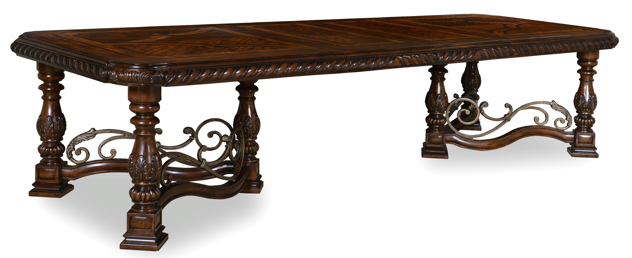 valencia trestle extendable dining table from art 209221 2304 coleman furniture. Black Bedroom Furniture Sets. Home Design Ideas