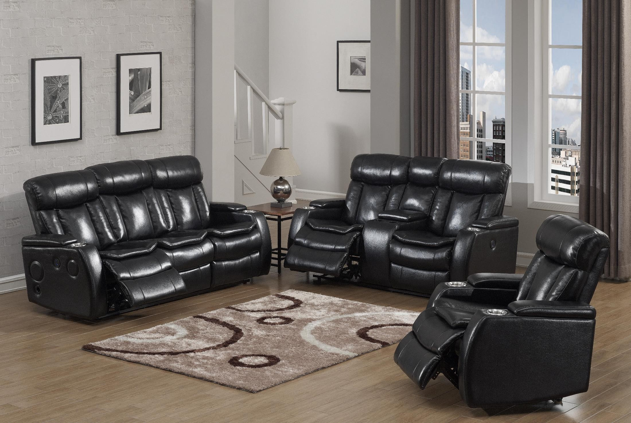 Recliner Gaming Setup Galaxy Black Power Reclining Sofa From Prime Resource