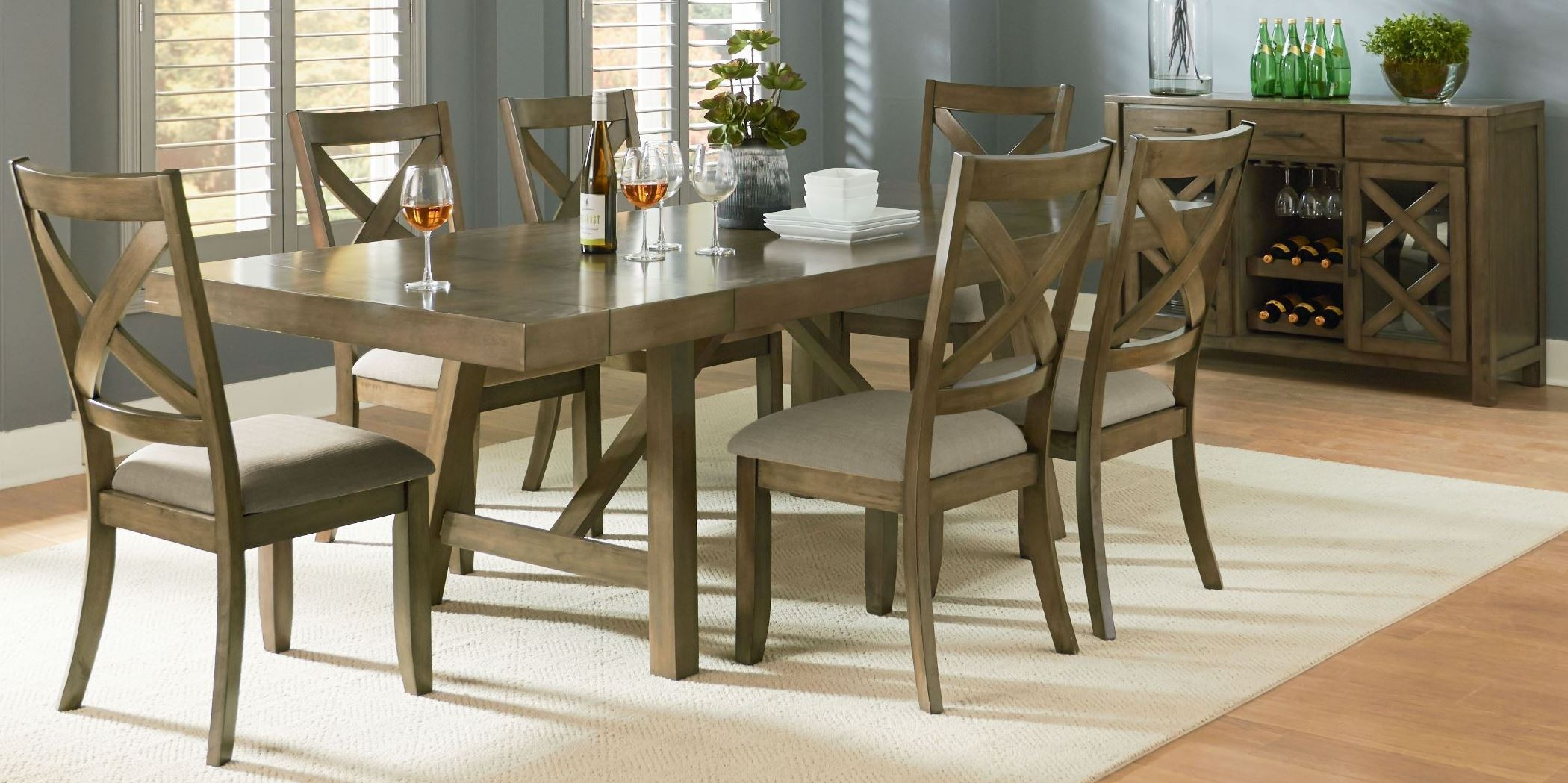 Omaha Weathered Burnished Gray Extendable Trestle Dining Room Set From Standa