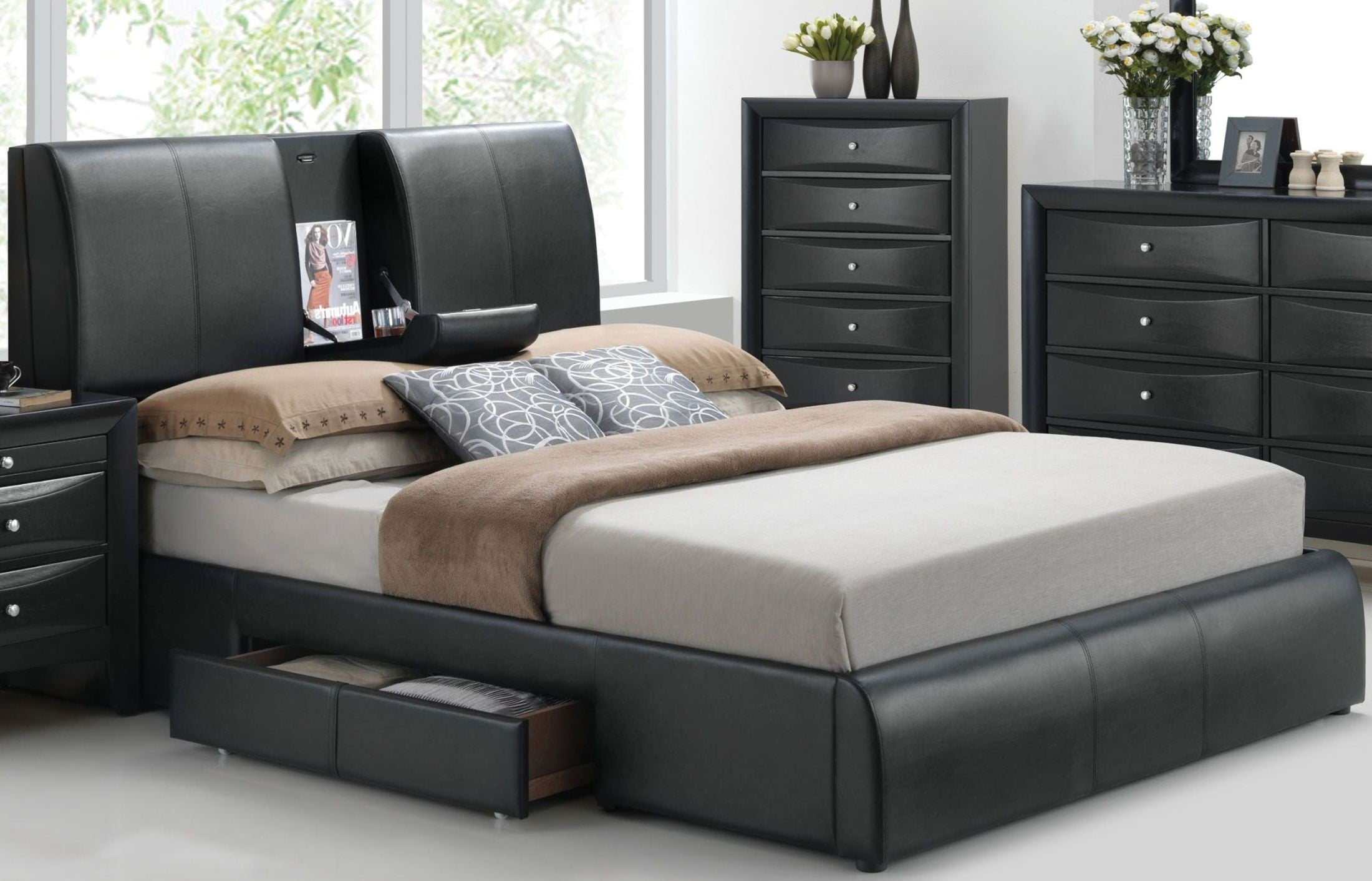 Contemporary Bedroom Set London Black By Acme Furniture: Kofi Black Queen Upholstered Platform Storage Bed From